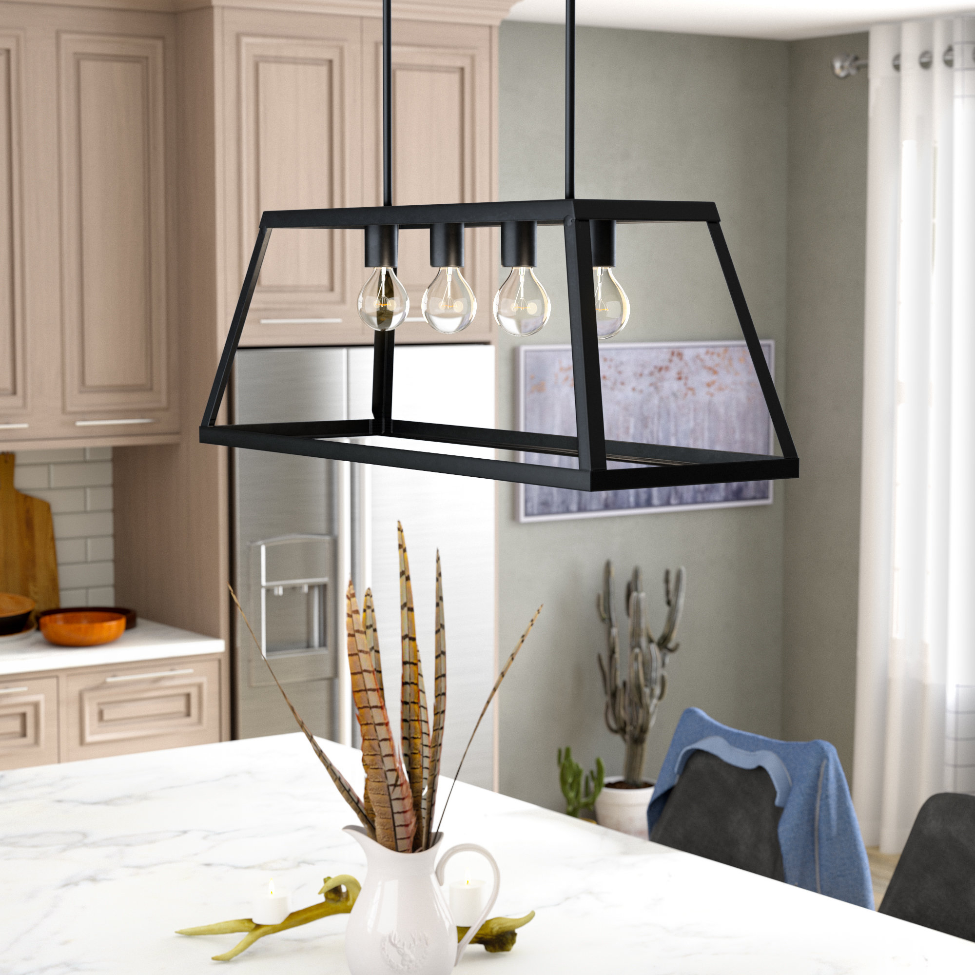 Murray 4 Light Kitchen Island Linear Pendant With Regard To Sousa 4 Light Kitchen Island Linear Pendants (View 12 of 30)