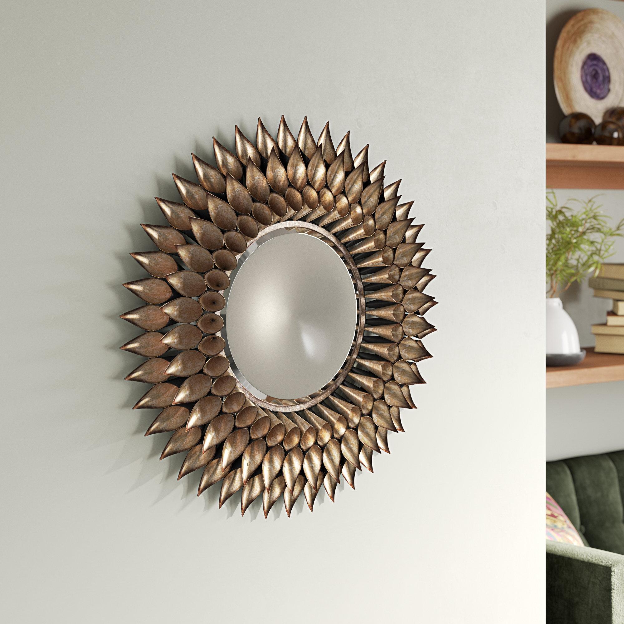 Natalie Sunburst Round Mirror | Wayfair In Deniece Sunburst Round Wall Mirrors (View 15 of 30)