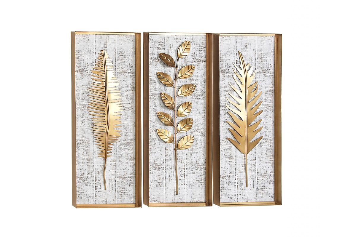 Natural Gold Leaf Wall Decor Set Of 3 For Scroll Leaf Wall Decor (View 20 of 30)