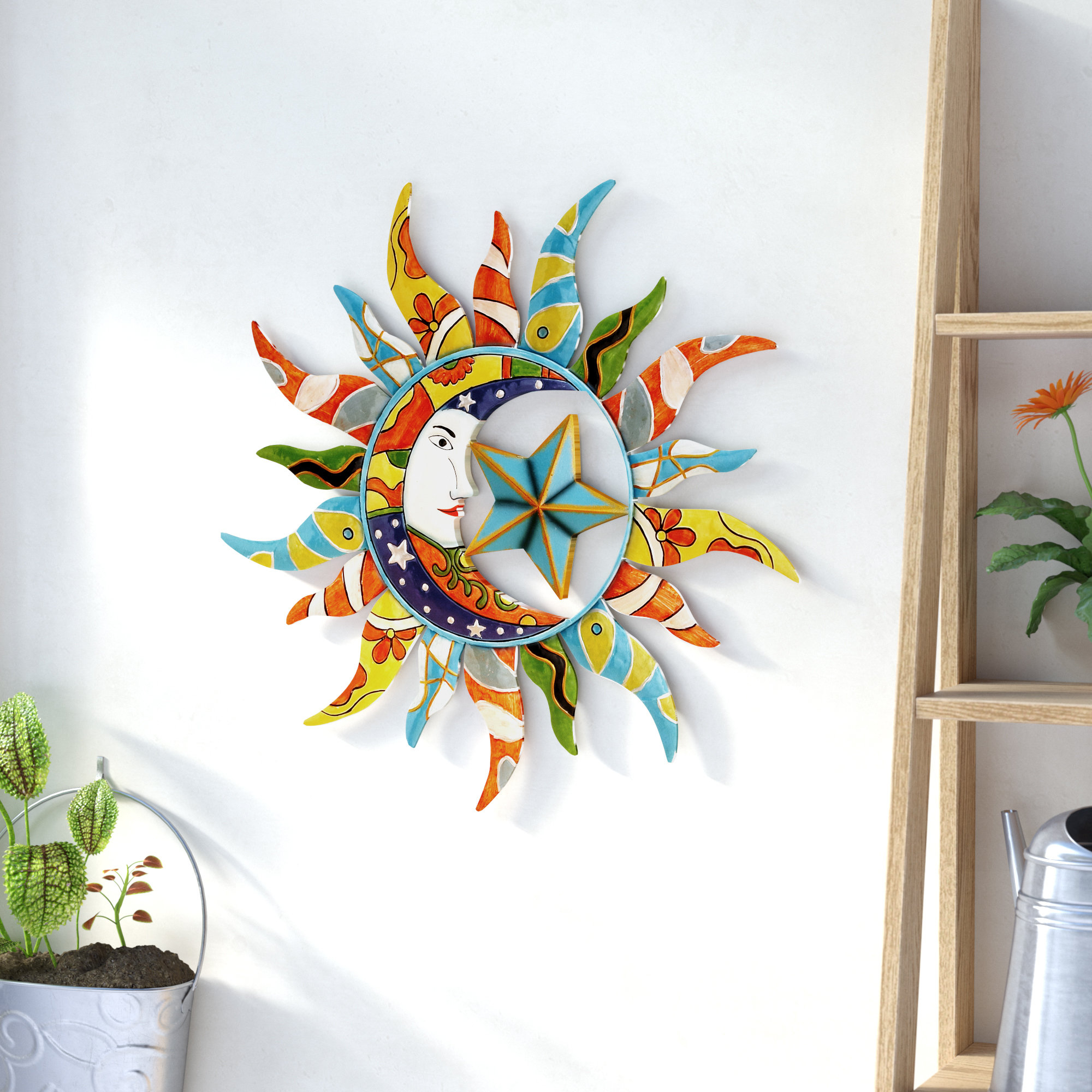 Nature Metal Sun Wall Décor Intended For Recycled Moon And Sun Wall Decor (View 12 of 30)