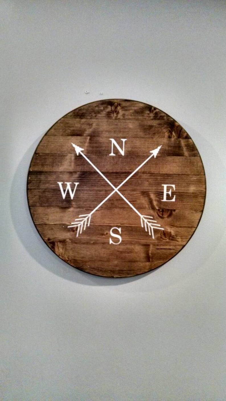 Nautical Compass Arrow Wooden Sign, Round, Crossed Arrows, North South East  West, Sailor, Home & Living Decor, Wall Hanging Decor for Round Compass Wall Decor (Image 20 of 30)