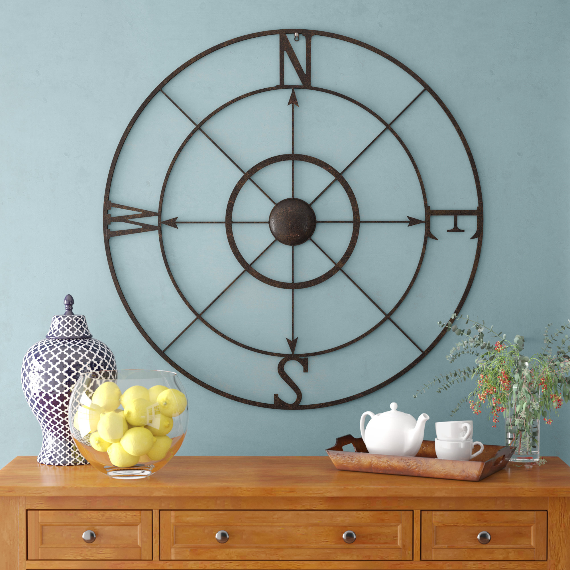 Nautical Compass Wall Decor | Wayfair with regard to Round Compass Wall Decor (Image 21 of 30)
