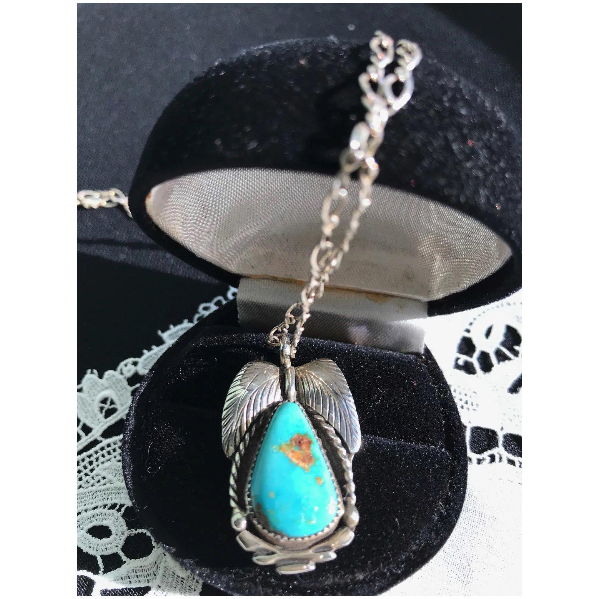 Navajo Bernice Bonney Sterling Turquoise Pendant Necklace inside Berenice 3-Light Cluster Teardrop Pendants (Image 19 of 30)
