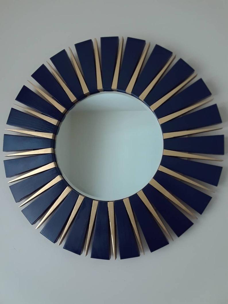 Navy Blue And Gold Sunburst Round Wall Mirror Intended For Deniece Sunburst Round Wall Mirrors (View 16 of 30)