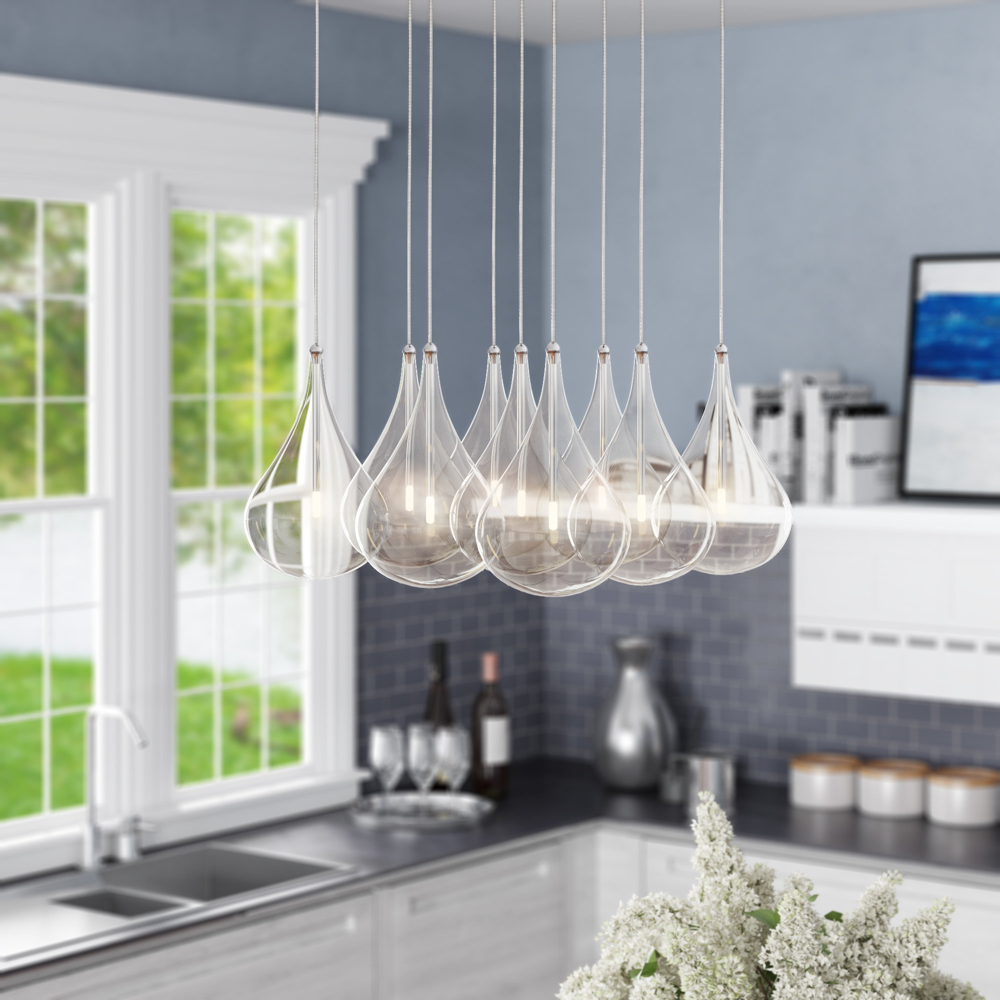 Neal 9 Light Kitchen Island Pendant With Neal 5 Light Kitchen Island Teardrop Pendants (View 5 of 30)
