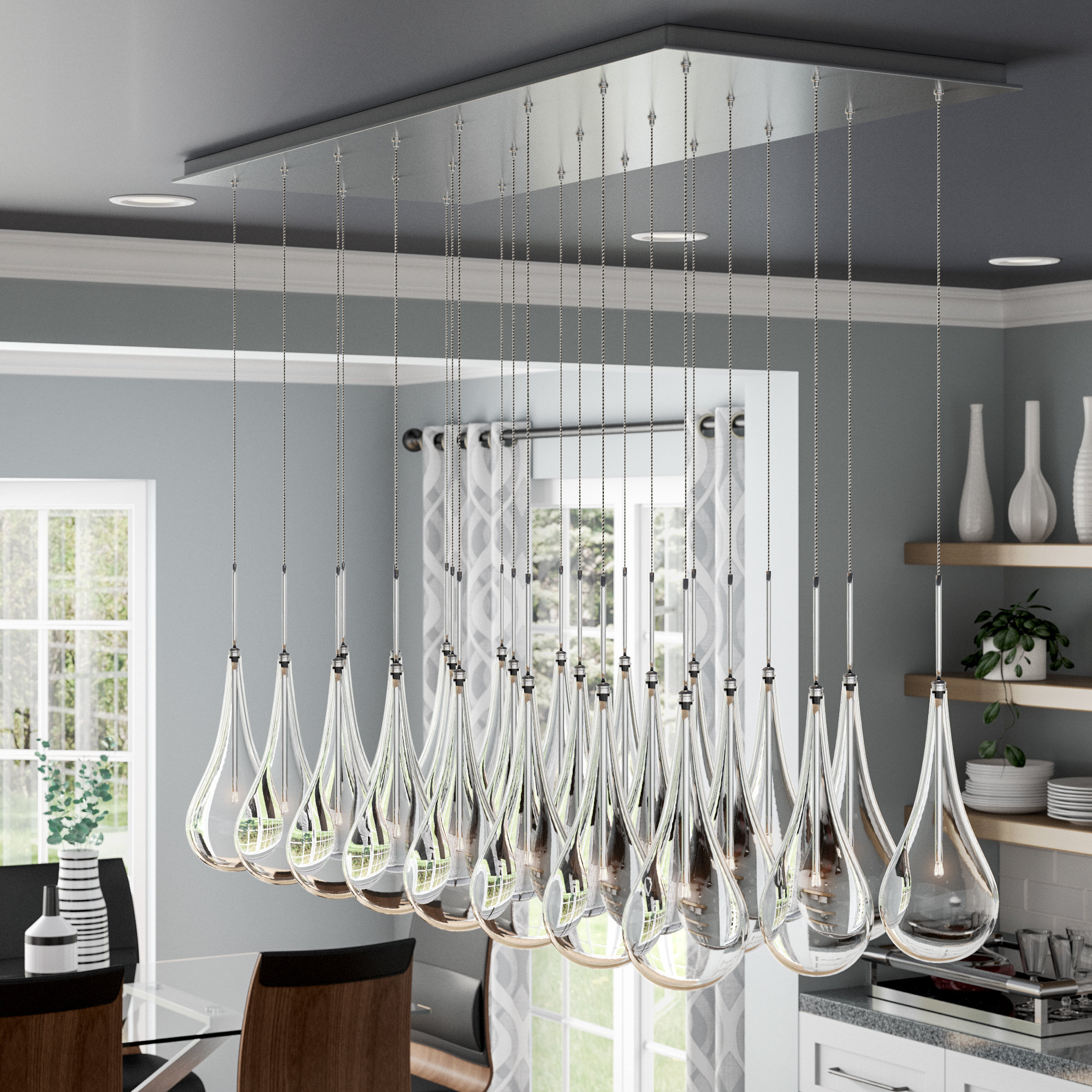 Neal Led Kitchen Island Pendant In Neal 9 Light Kitchen Island Teardrop Pendants (View 25 of 30)