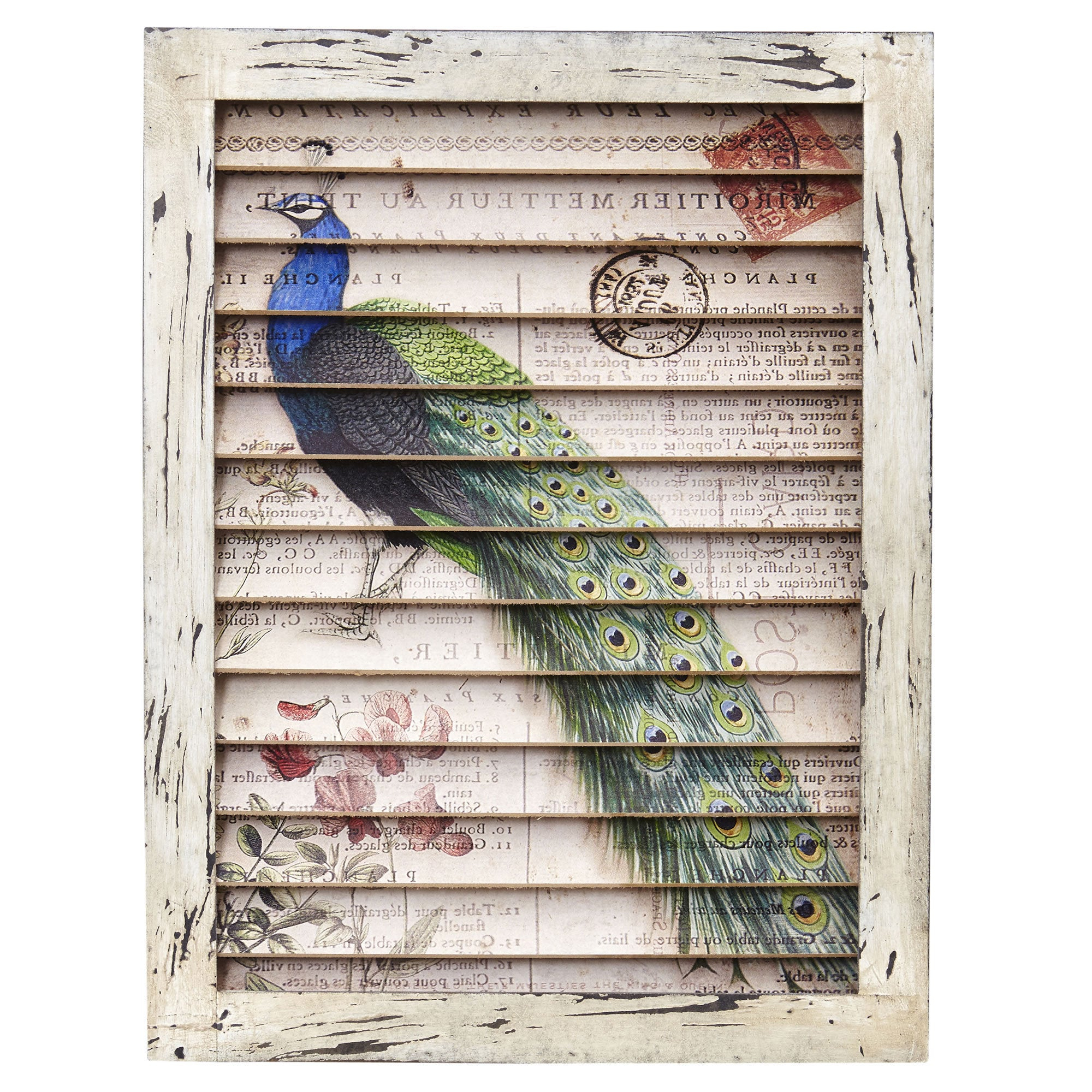 Nearly Natural Peacock Wood Metal Window Shutter Wall Decor Intended For Shutter Window Hanging Wall Decor (View 22 of 30)