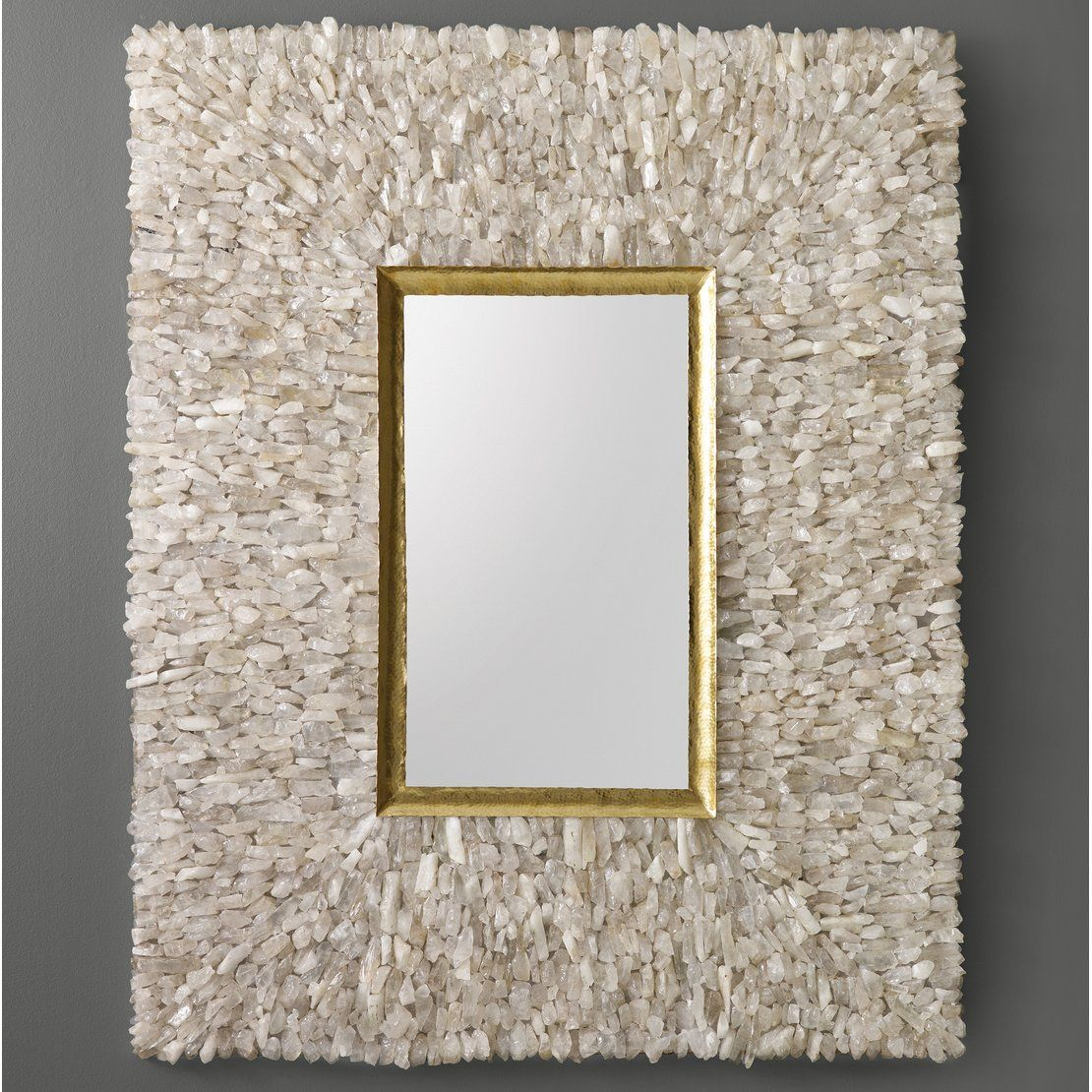 Neoteric Crystal Wall Mirror Glitz Floral Modern Rectangle Regarding Sajish Oval Crystal Wall Mirrors (View 24 of 30)