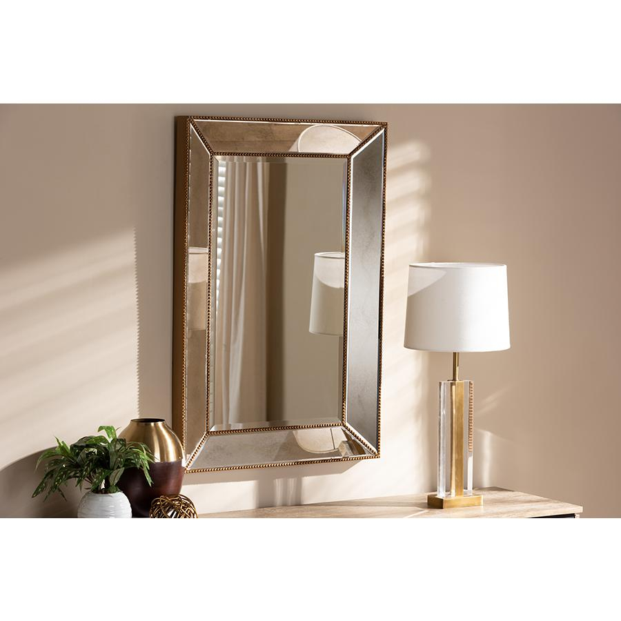 Neva Modern And Contemporary Antique Gold Finished Rectangular Accent Wall Mirrorbaxton Studio Throughout Rectangle Accent Wall Mirrors (View 11 of 30)