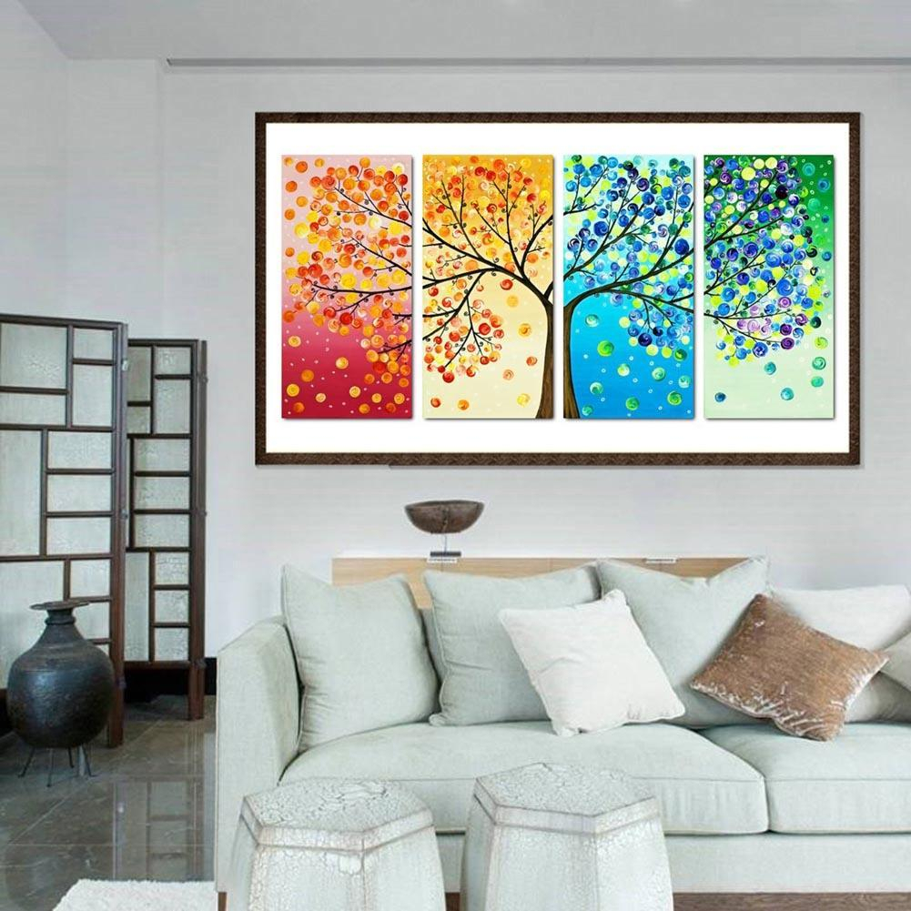 New Arrival Colorful Tree 5d Diy Full Drill Diamond Painting 4 Pictures Combination Kit Intended For 2 Piece Heart Shaped Fan Wall Decor Sets (View 18 of 30)