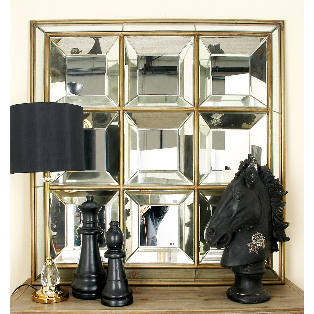 New Traditional Square Geometric Decorative Wall Mirror In Traditional Square Glass Wall Mirrors (View 9 of 30)