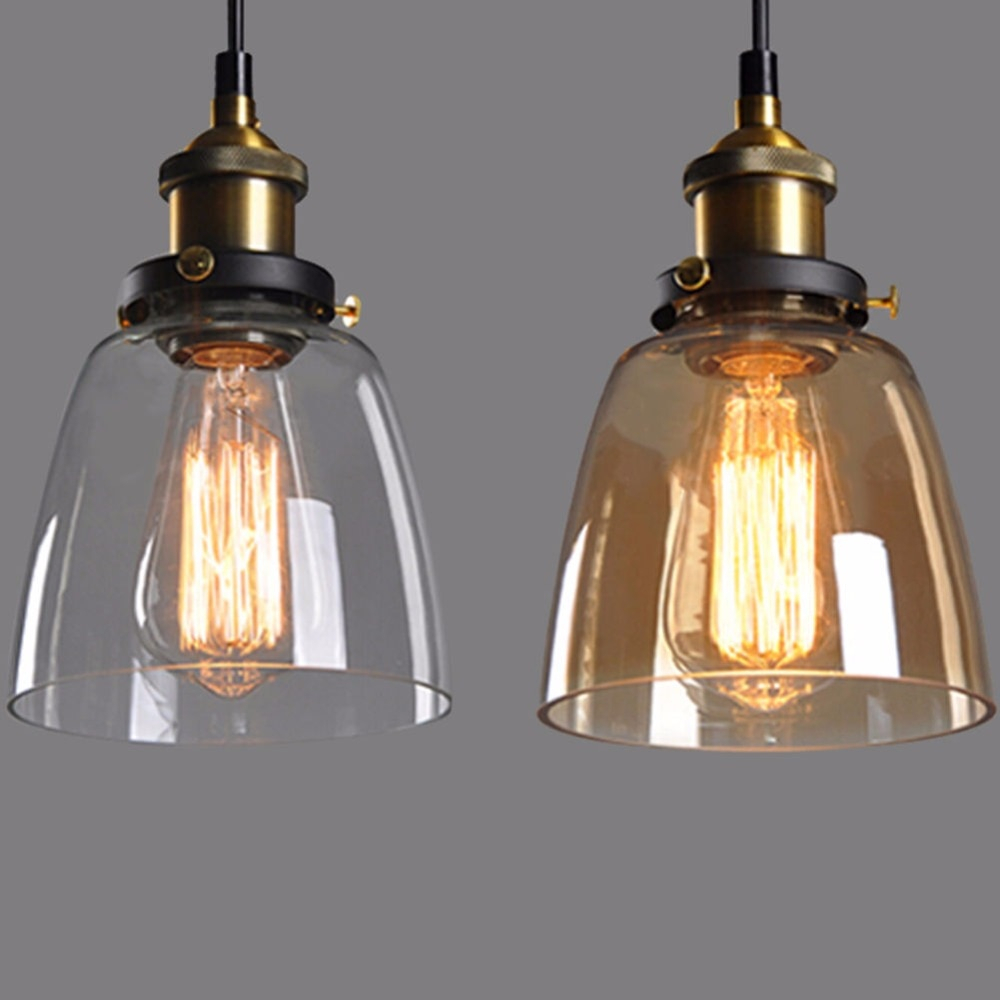 New Vintage Industrial Diy Ceiling Lamp Light Glass Pendant Pertaining To Vintage Edison 1 Light Bowl Pendants (View 24 of 30)
