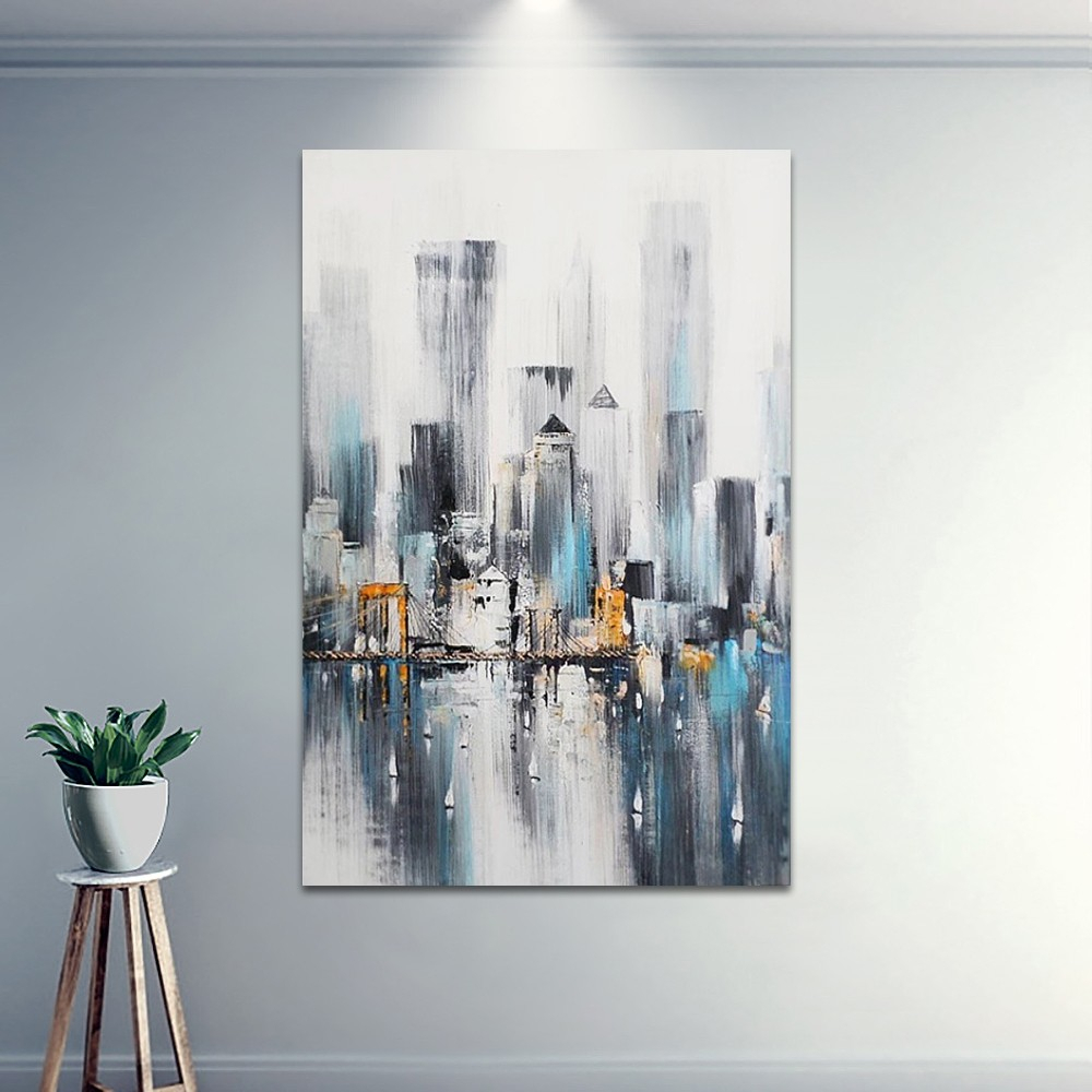 New York Nightscape Skyline Abstract Hand Painted Decorative Wall Mount  Canvas Art Pertaining To Abstract Bar And Panel Wall Decor (Image 19 of 30)