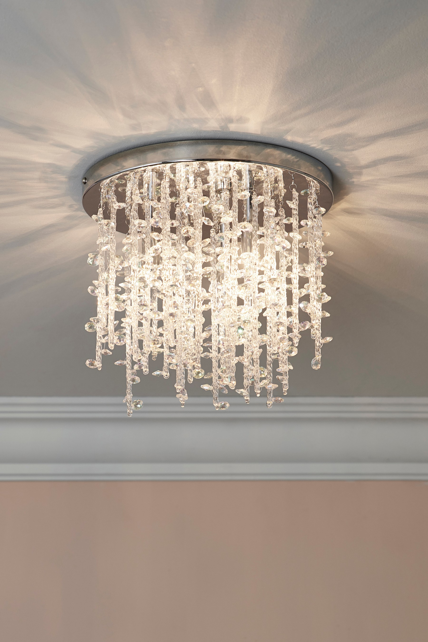 Next Icicle Flush 3 Light Fitting – Chrome | Products In Inside Jill 4 Light Drum Chandeliers (View 14 of 30)