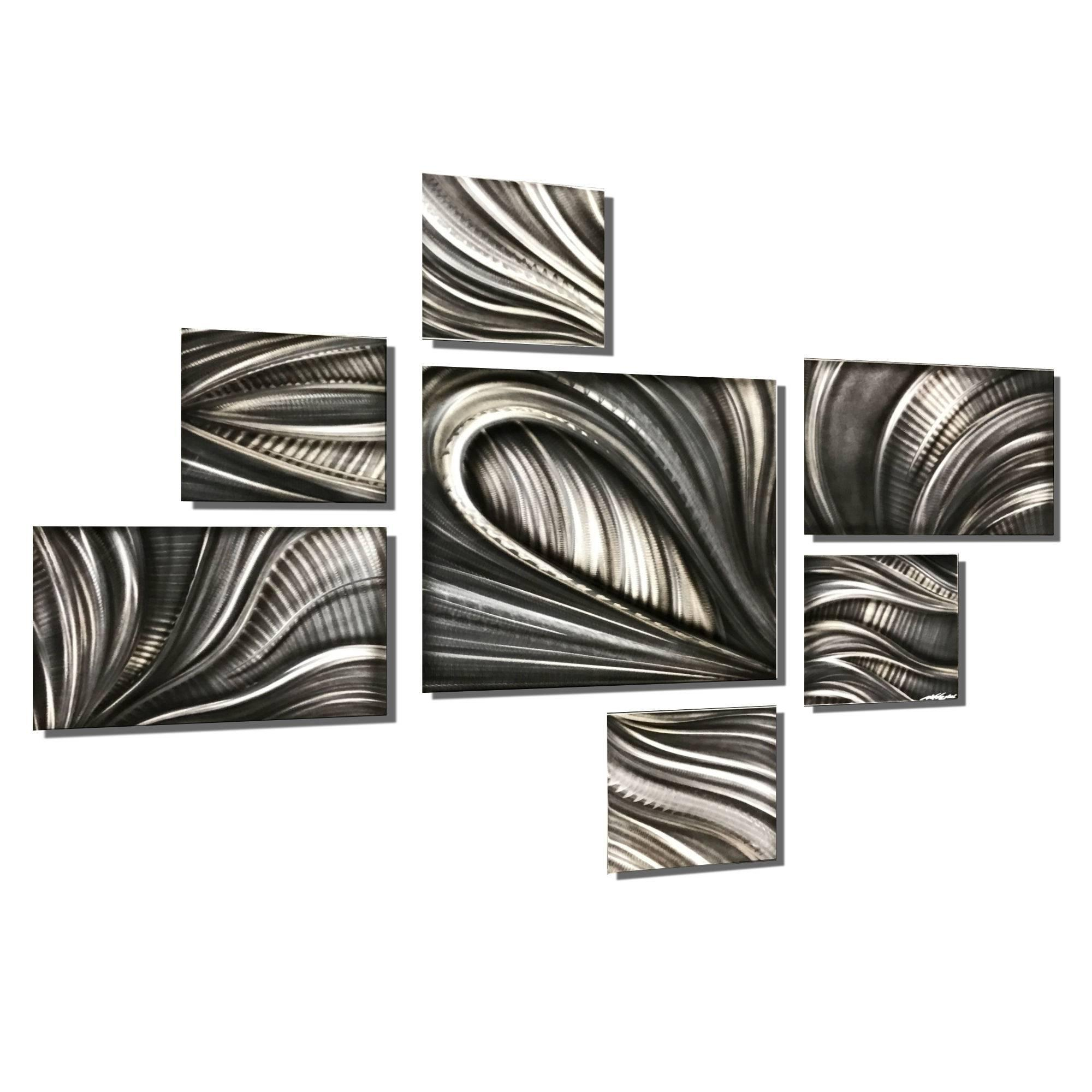 Nicholas Yust Large Contemporary Modern Industrial Metal Hanging Wall Decor  Set Intended For Large Modern Industrial Wall Decor (Photo 22 of 30)