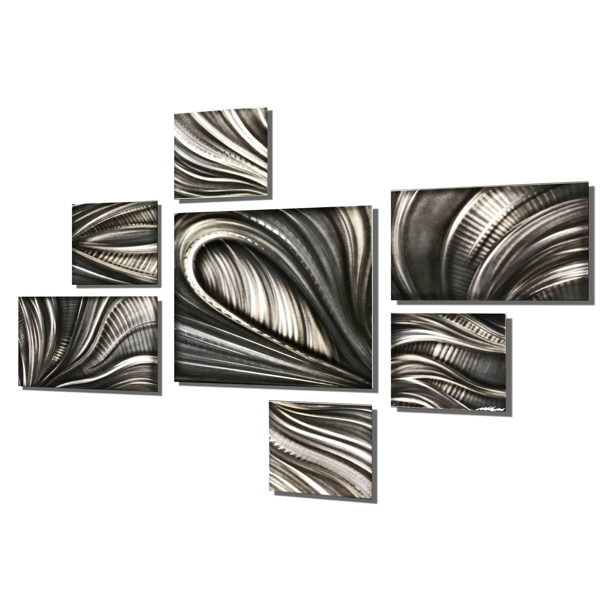 Nicholas Yust Large Contemporary Modern Industrial Metal Hanging Wall Decor  Set With Regard To Large Modern Industrial Wall Decor (Photo 8 of 30)