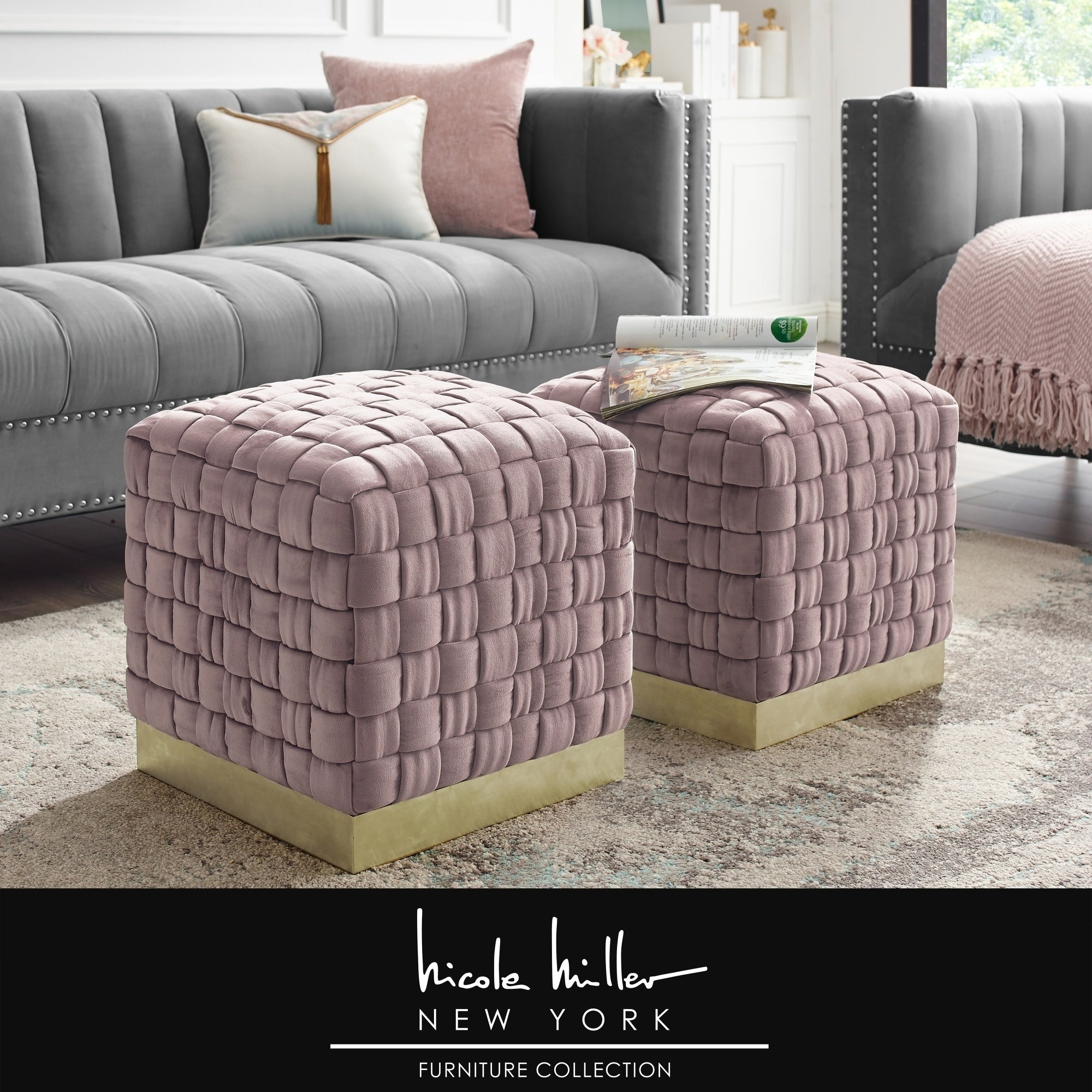 Nicole Miller Annamay Velvet Ottoman Hand Woven Stainless Steel, 1 Pc with regard to 4 Piece Handwoven Wheel Wall Decor Sets (Image 27 of 30)