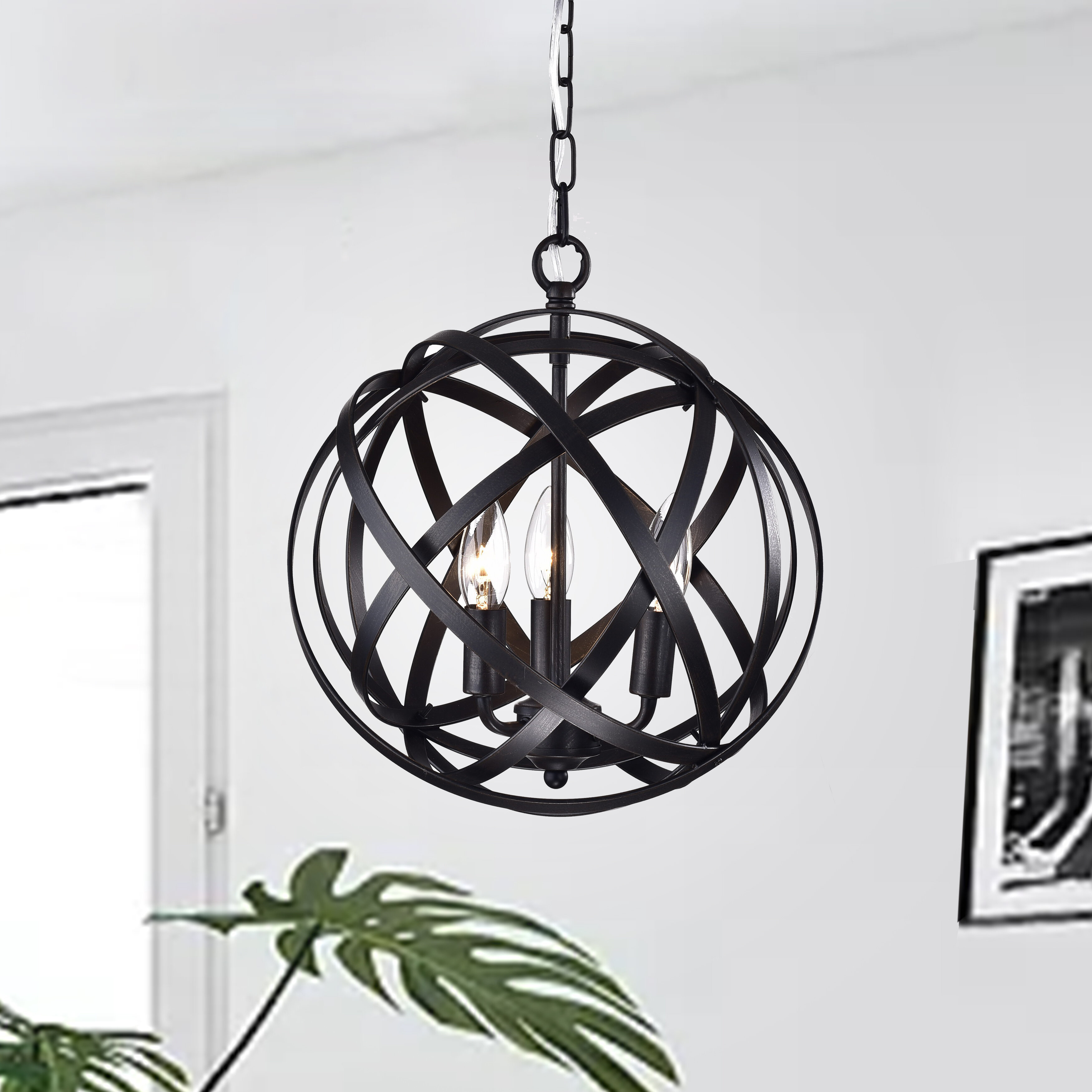 Nilsa 3 Light Globe Chandelier With Alden 3 Light Single Globe Pendants (View 20 of 30)