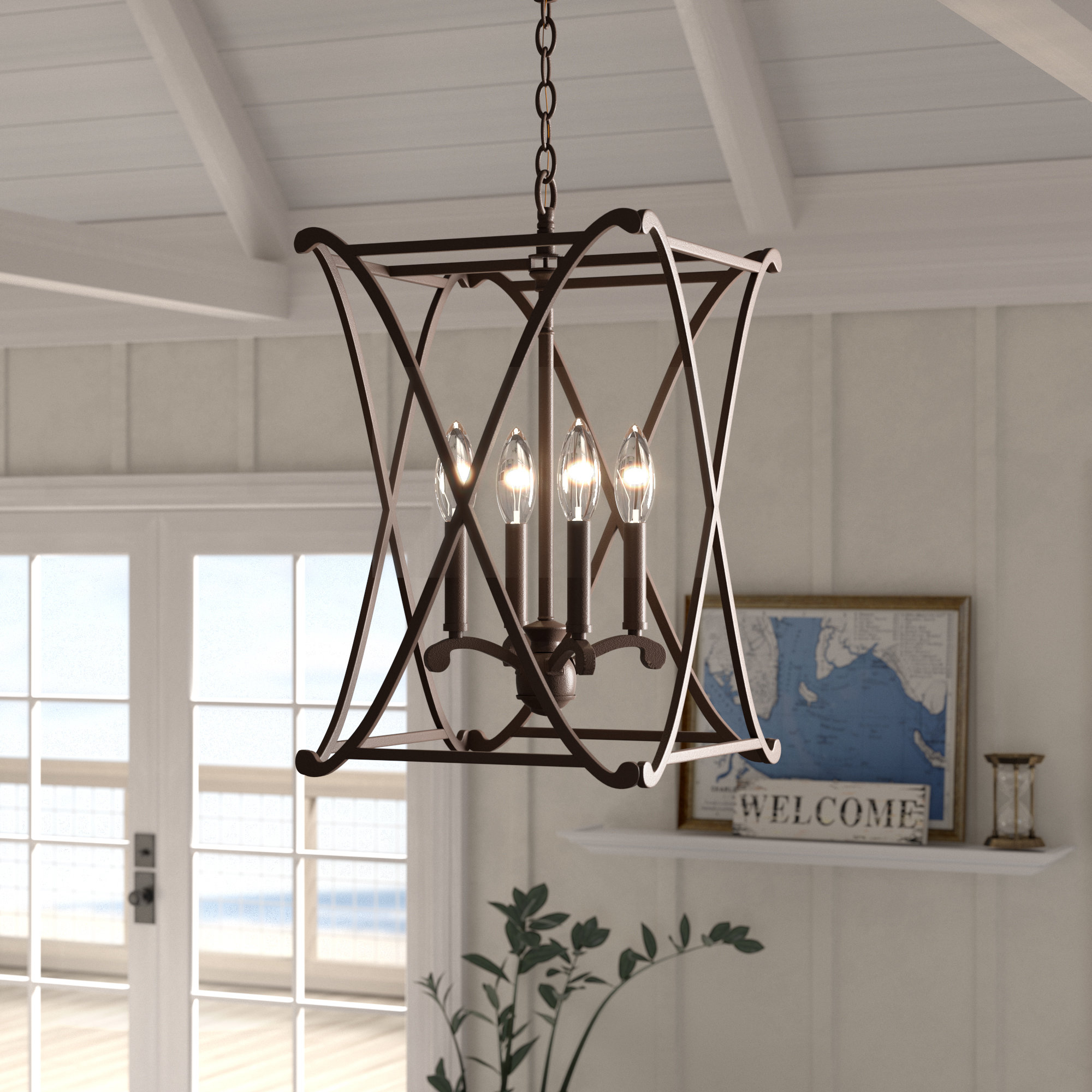 Nisbet 4 Light Lantern Geometric Pendant In Armande 4 Light Lantern Drum Pendants (View 5 of 30)