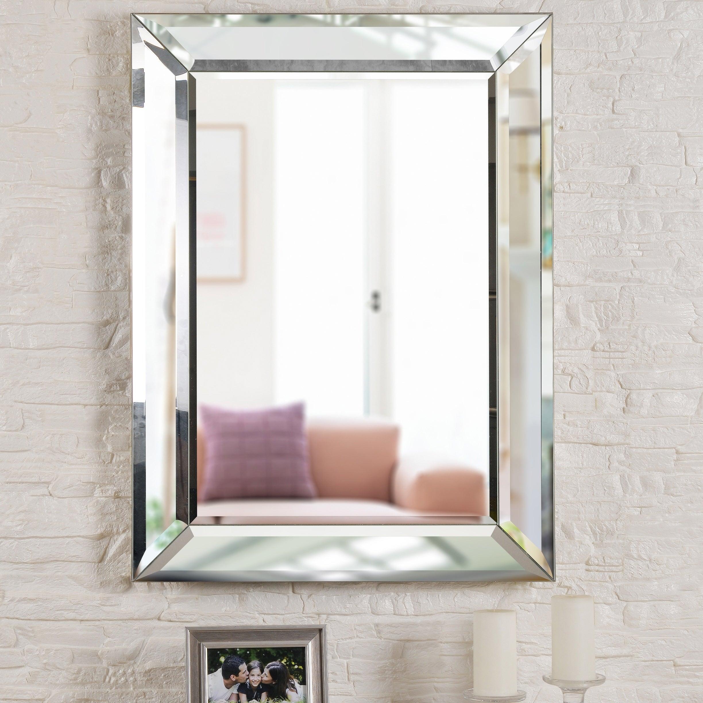 "Nolan 40"" Rectangular Beveled Wall Mirror Pertaining To Modern & Contemporary Beveled Wall Mirrors (View 27 of 30)"