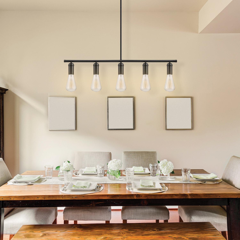 Novogratz Vintage 5 Light Kitchen Island Bulb Pendant With Cinchring 4 Light Kitchen Island Linear Pendants (View 25 of 30)