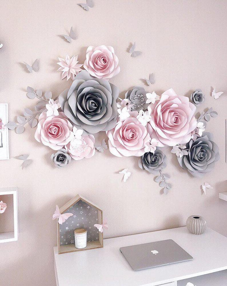 Nursery Paper Flower - Nursery Wall Decor - Paper Flowers Wall Decor -  Paper Flower Decor - Large Paper Flowers - Blush Pink And Gray Decor inside 3 Piece Ceramic Flowers Wall Decor Sets (Image 26 of 30)