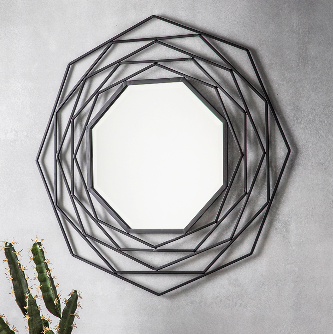 Octagonal Black Geometric Wall Mirror Pertaining To Industrial Modern & Contemporary Wall Mirrors (View 27 of 30)