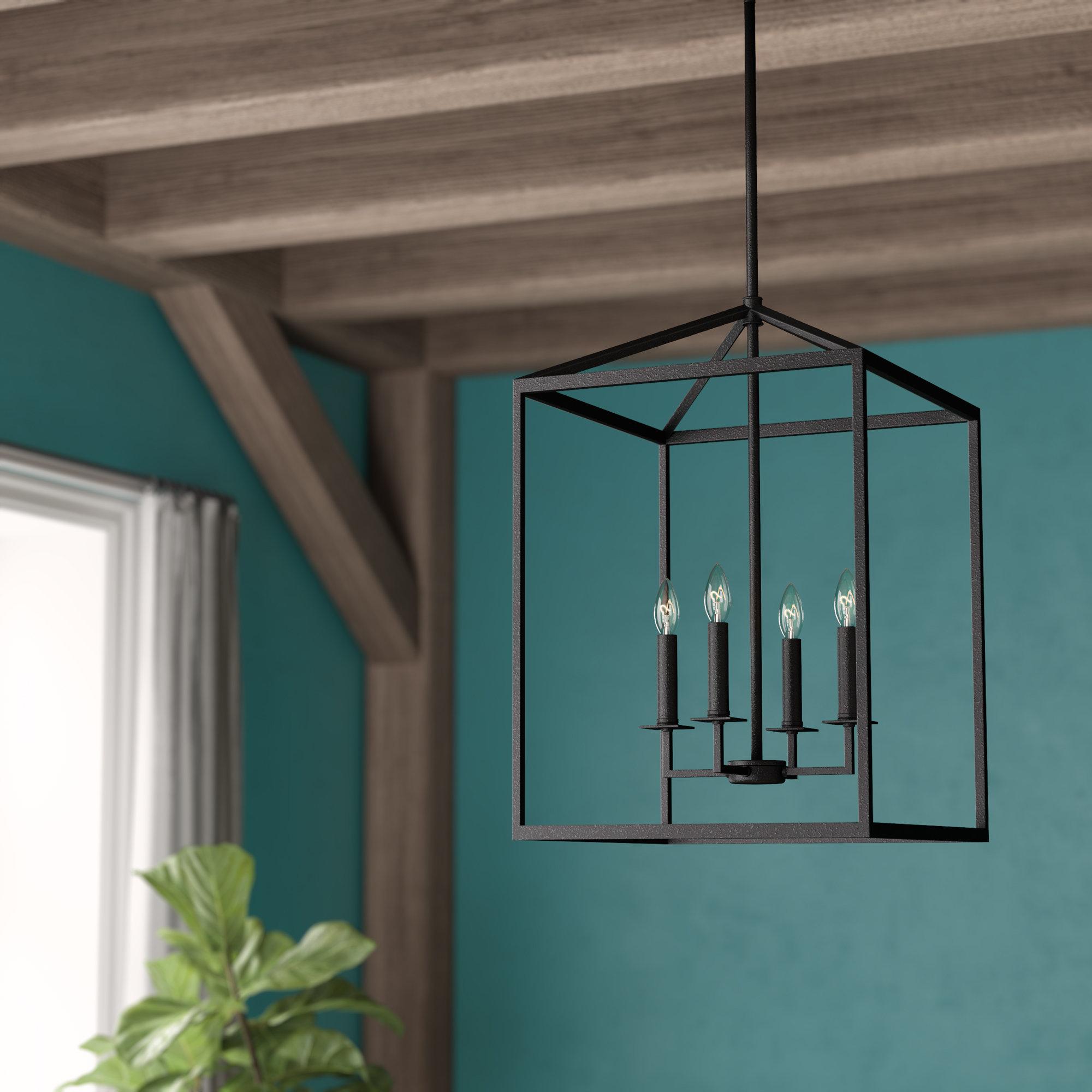 Odie 4-Light Lantern Geometric Pendant inside Odie 4-Light Lantern Square Pendants (Image 16 of 30)