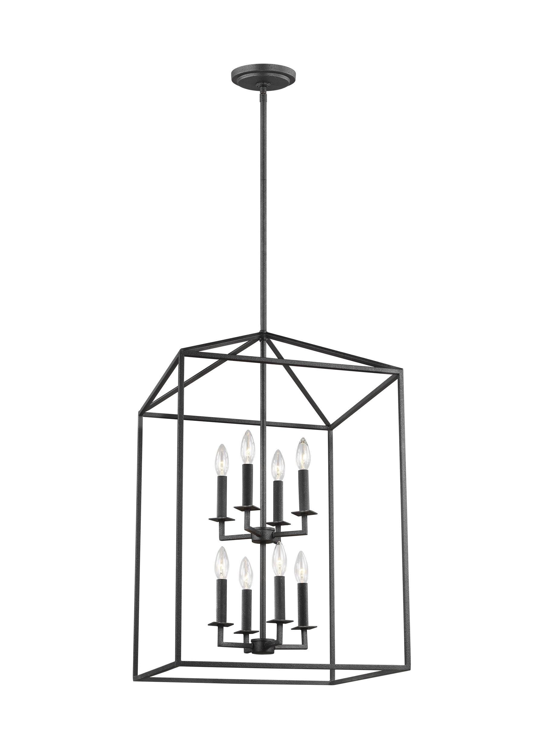 Popular Photo of Odie 8 Light Lantern Square / Rectangle Pendants