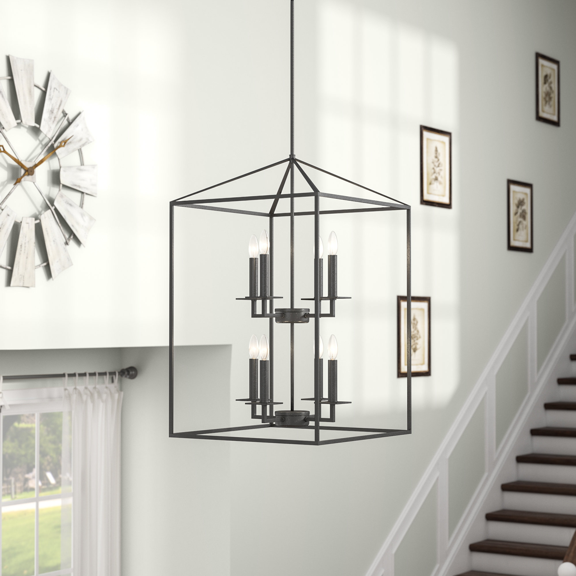 Odie 8-Light Lantern Tiered Pendant within Odie 8-Light Kitchen Island Square / Rectangle Pendants (Image 23 of 30)