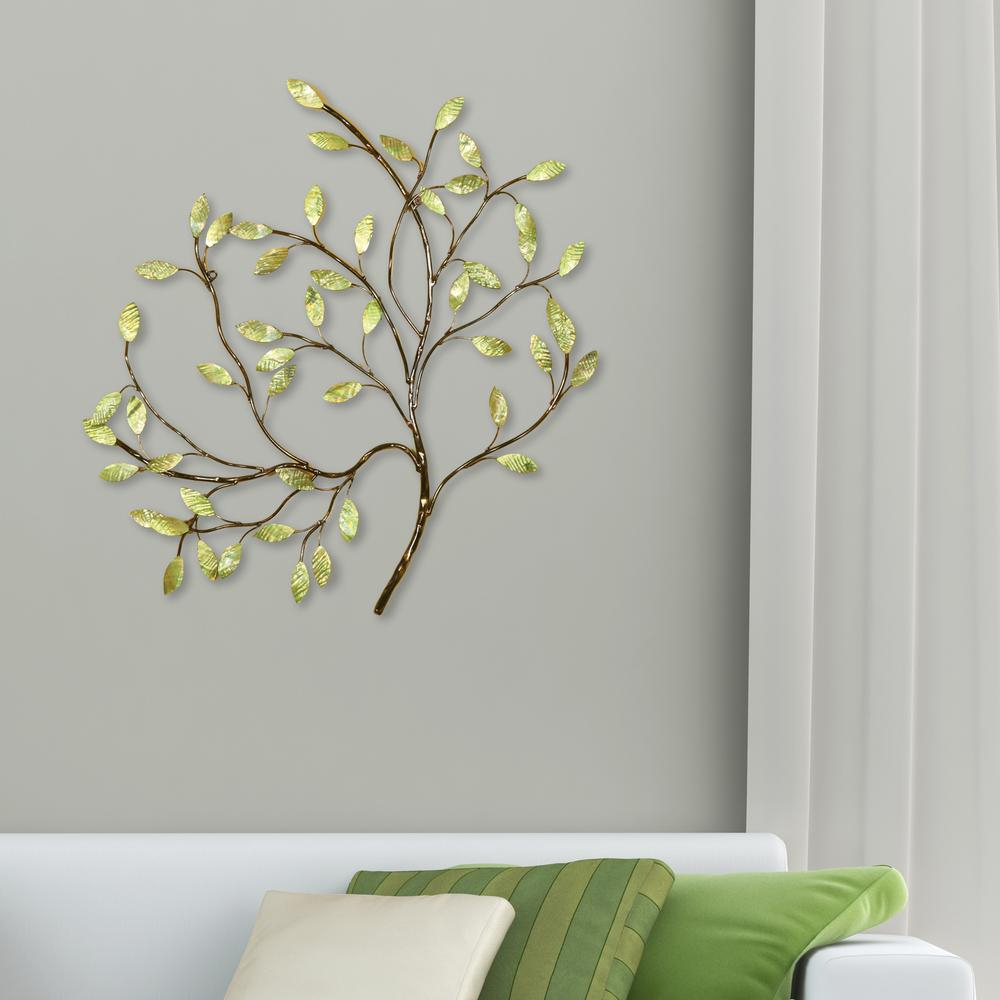 Oil Rubbed Bronze And Green Tree Metal Work Wall Decor With Tree Shell Leaves Sculpture Wall Decor (View 18 of 30)