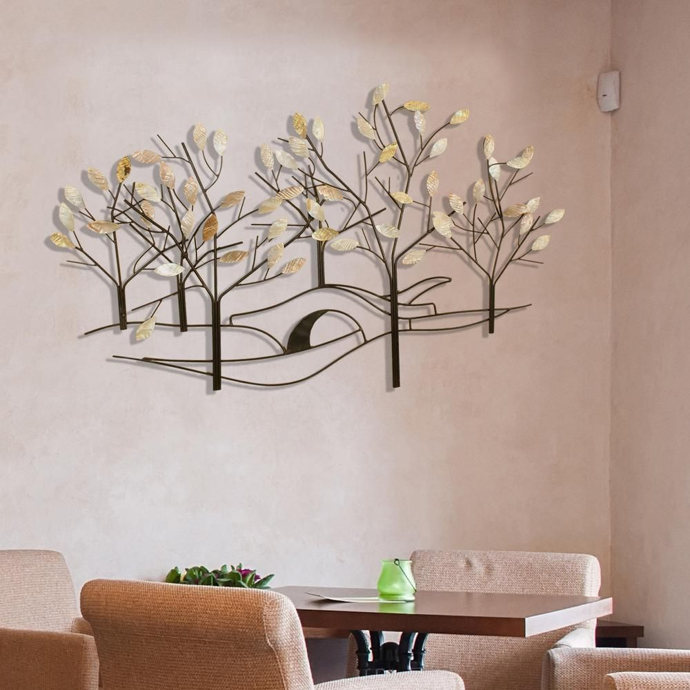 Oil Rubbed Bronze Tree Lined Street Metal Work Wall Decor In With Leaves Metal Sculpture Wall Decor By Winston Porter (View 3 of 30)