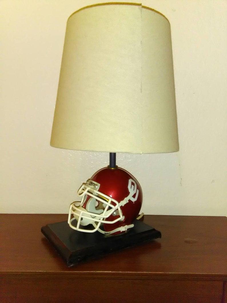 Oklahoma University Sooners Vintage Schutt Football Helmet Table Lamp Intended For Schutt 1 Light Cylinder Pendants (View 20 of 30)
