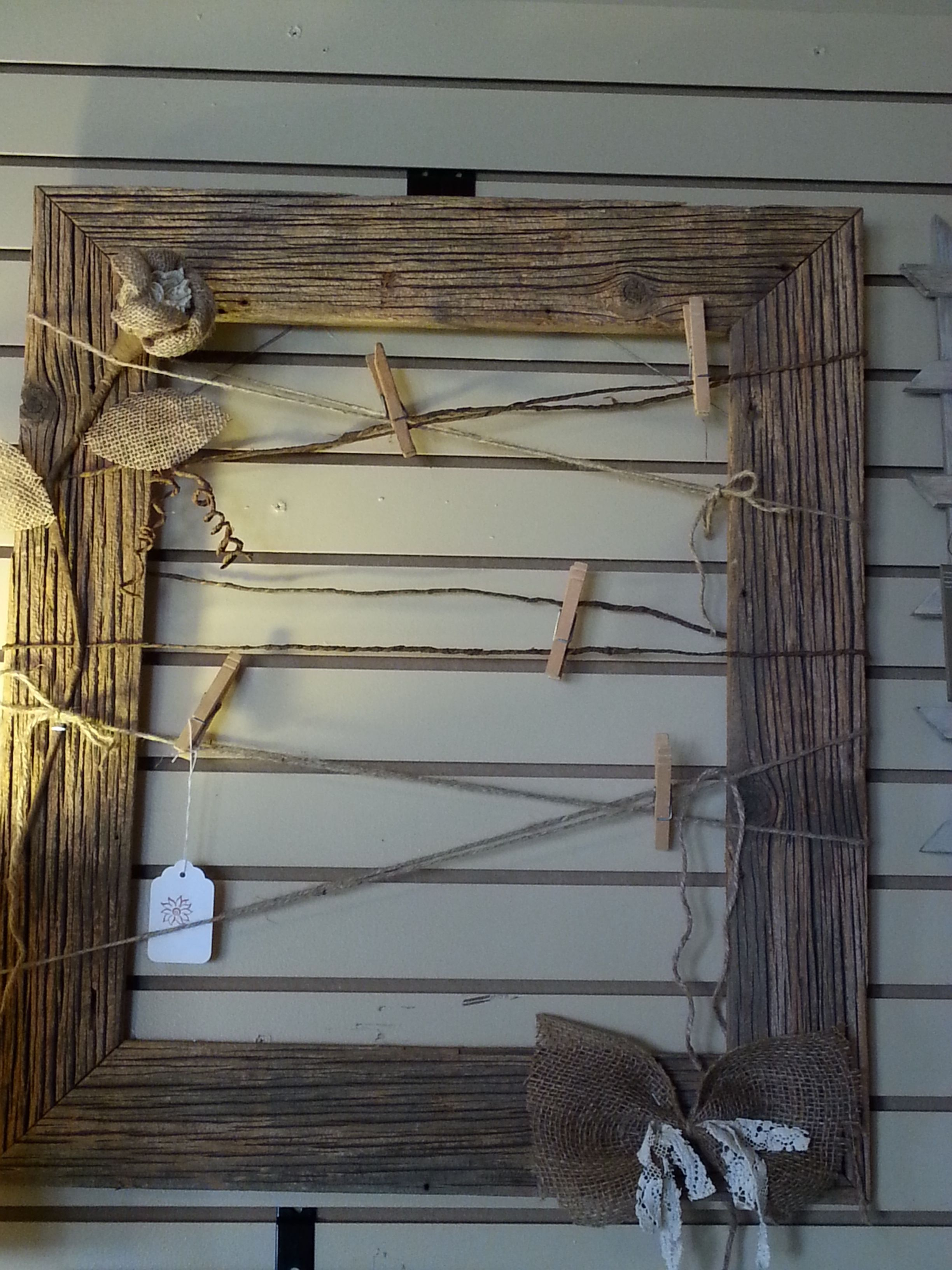 Old, Rustic Barn Wood Made Into A Picture Frame With Twine in Old Rustic Barn Window Frame (Image 22 of 30)