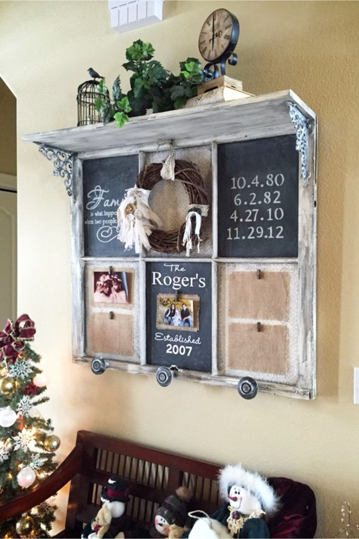 Old Window Frames Diy Ideas And Window Frame Crafts - Involvery inside Old Rustic Barn Window Frame (Image 19 of 30)