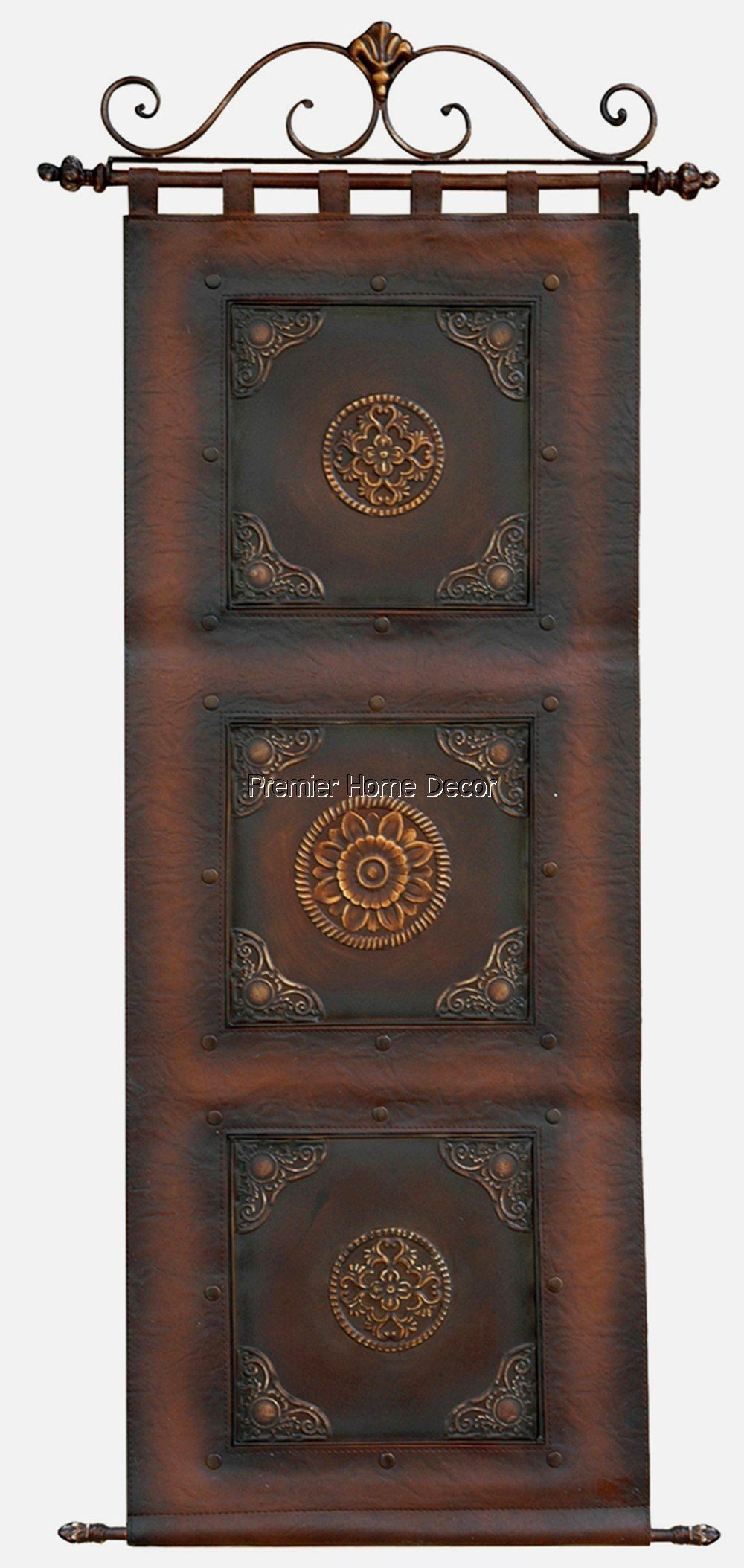 Old World Tuscan Leather Wall Hanging Scroll Topper Metal Within Scroll Panel Wall Decor (View 18 of 30)