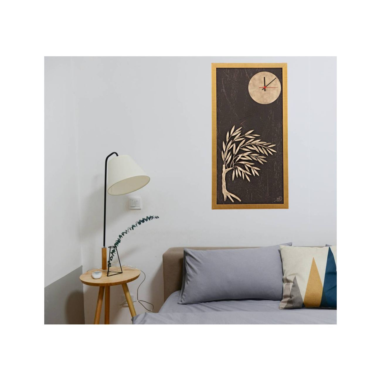 Olive Tree & Round Clock, Wood & Metal Framed Wall Art Ornament – Gold Color, Height 83cm ( (View 13 of 30)