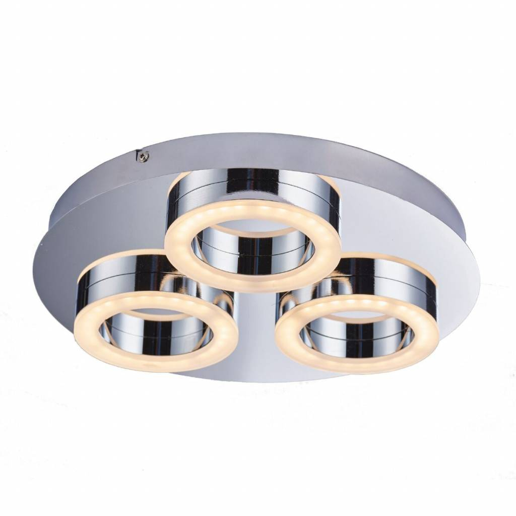 Olympia – 3 Light Modern Led Bathroom Flush Ceiling Light With Regard To Clea 3 Light Crystal Chandeliers (View 21 of 30)