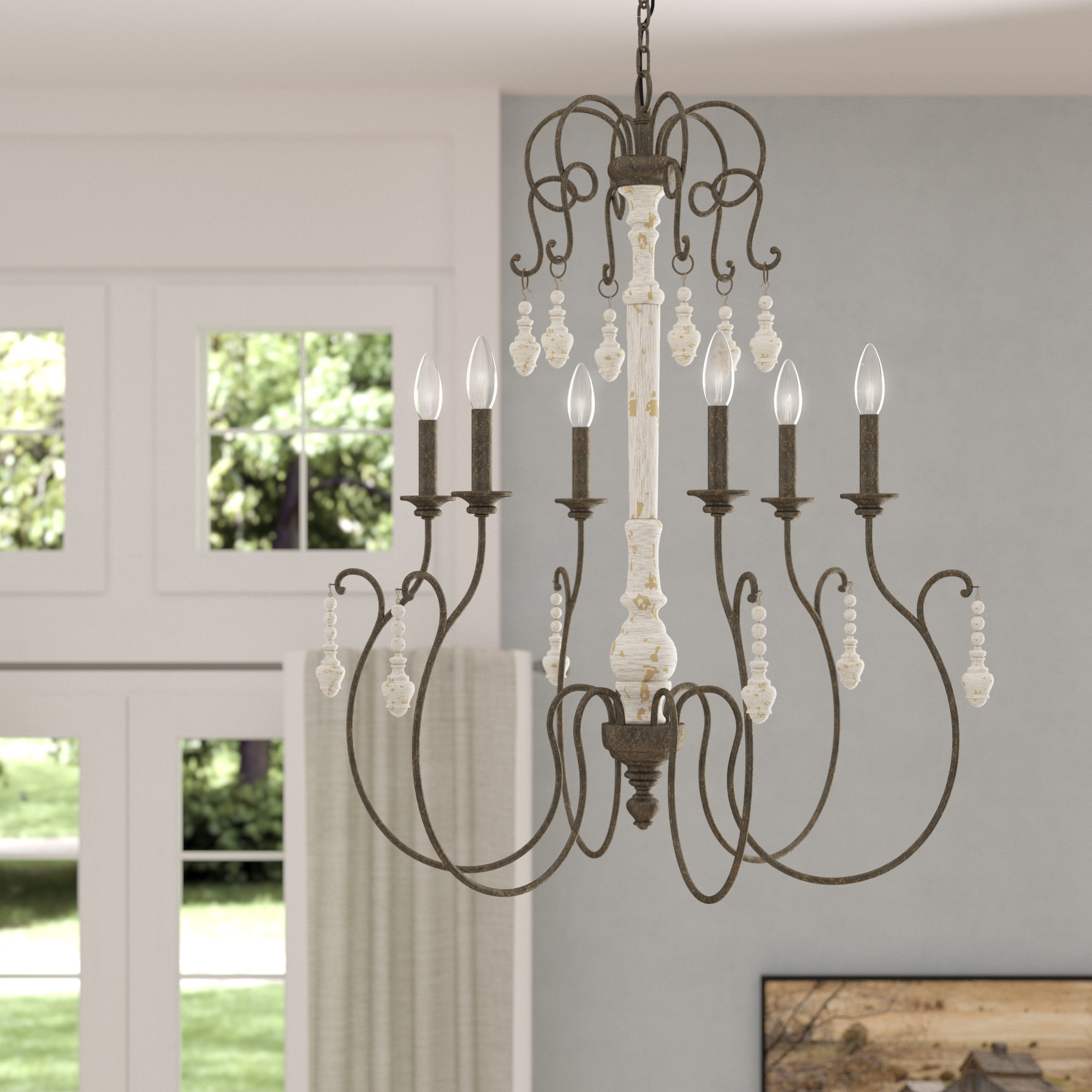 One Allium Way Kadyn 6 Light Candle Style Chandelier Within Bouchette Traditional 6 Light Candle Style Chandeliers (View 5 of 30)