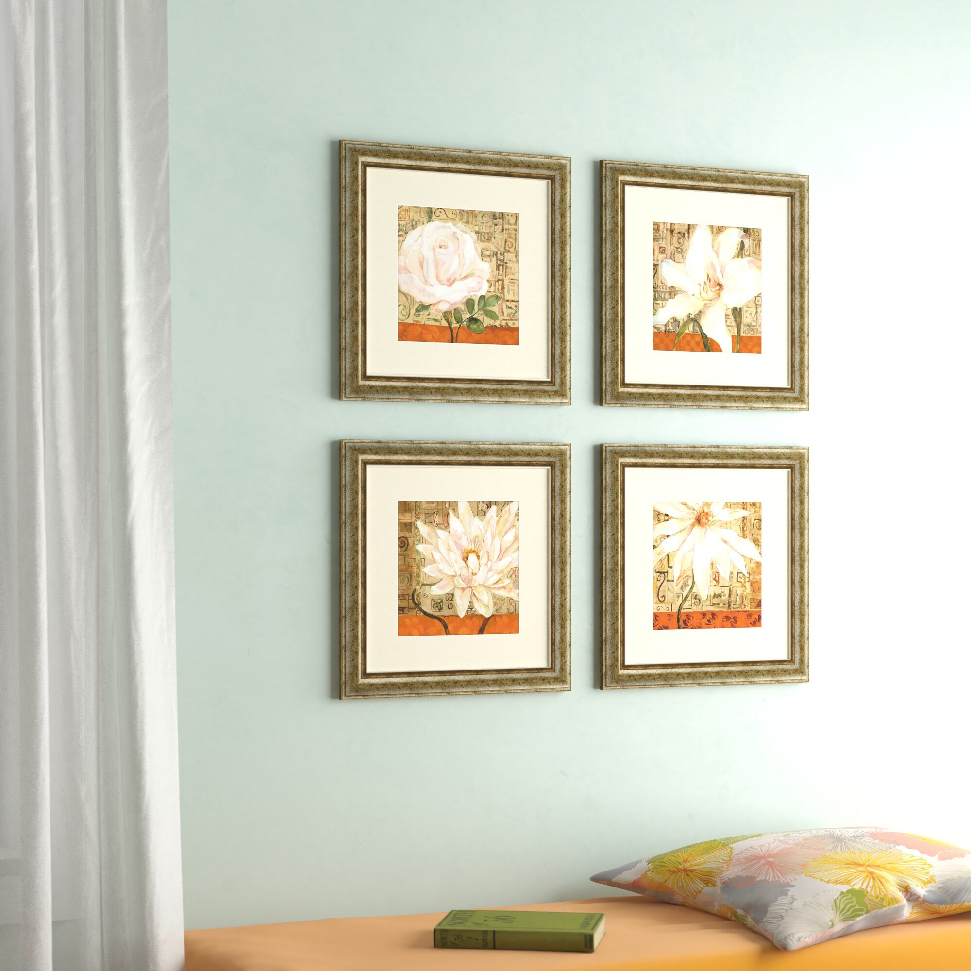 'opulence' 4 Piece Framed Graphic Art Set Regarding 4 Piece Wall Decor Sets By Charlton Home (View 4 of 30)