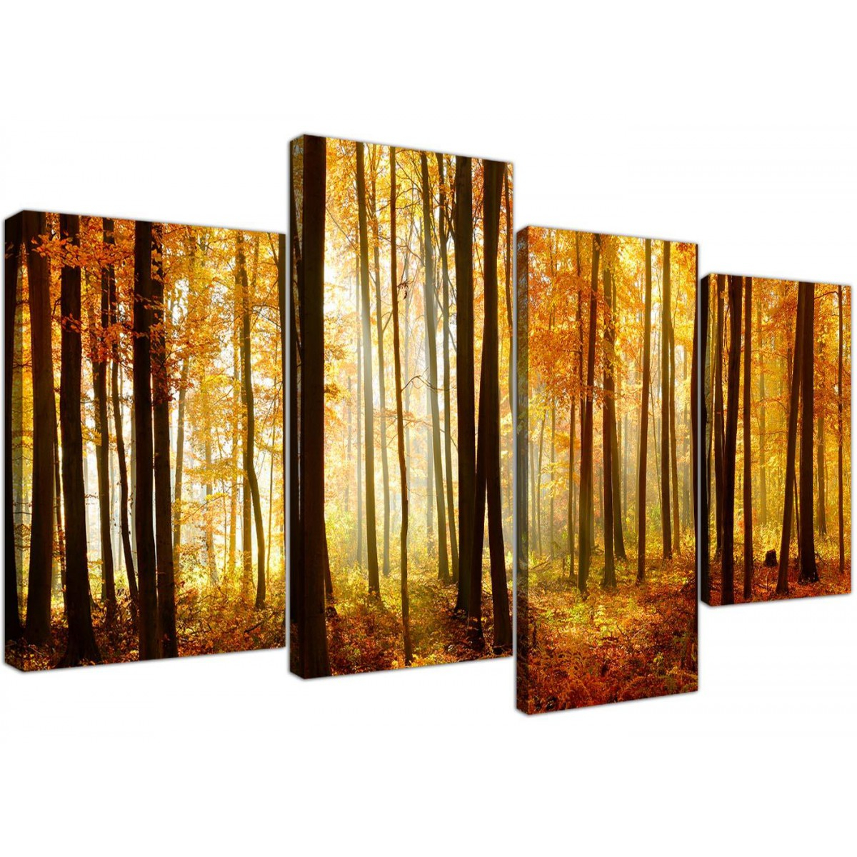 Orange Autumn Forest Scene Woodland Trees Canvas – Split 4 Part – 130Cm – 4243 With Regard To Contemporary Forest Metal Wall Decor (View 22 of 30)
