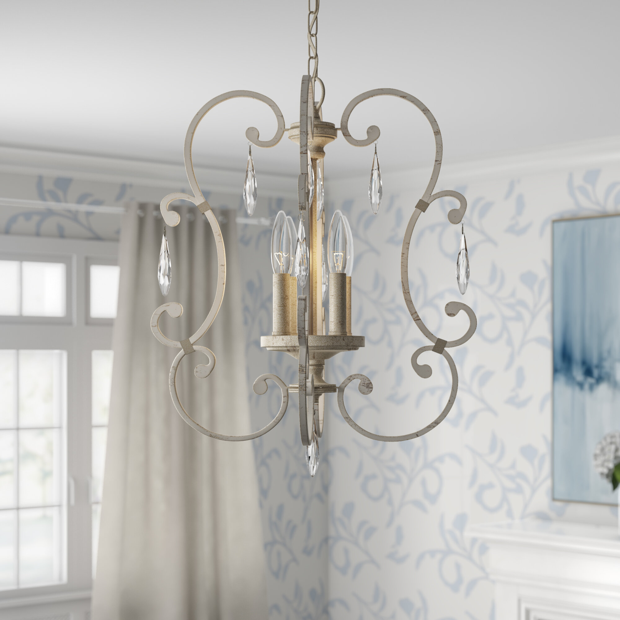 Oriana 4-Light Single Geometric Chandelier with regard to Oriana 4-Light Single Geometric Chandeliers (Image 23 of 30)