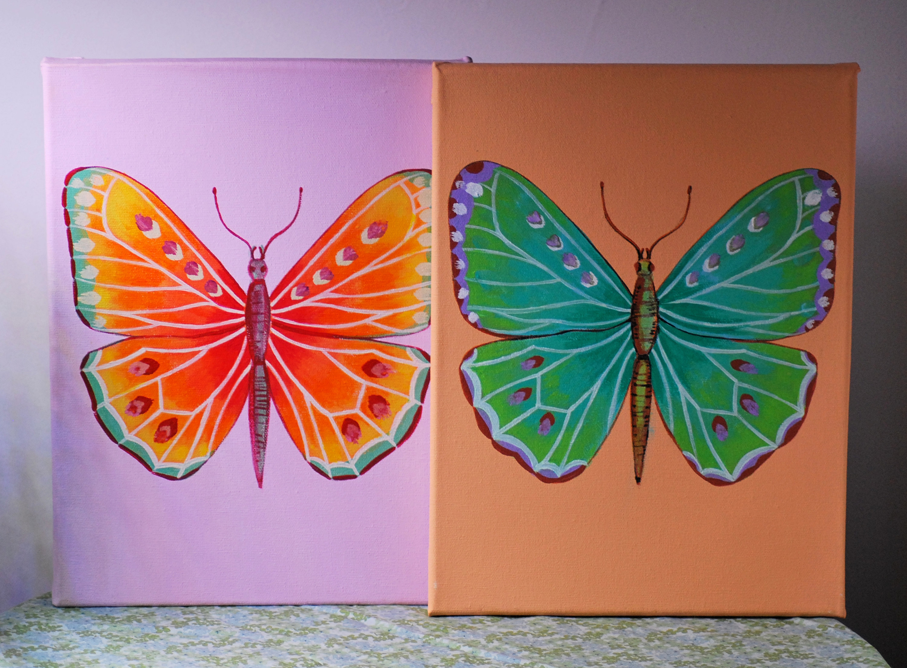 Original Multicolor Butterfly Painting Wall Art, Butterflies Bedroom Wall Decor, Butterflies Artwork Set Of 2 Canvas, Butterflies Set Canvas Inside 3 Piece Capri Butterfly Wall Decor Sets (View 21 of 30)