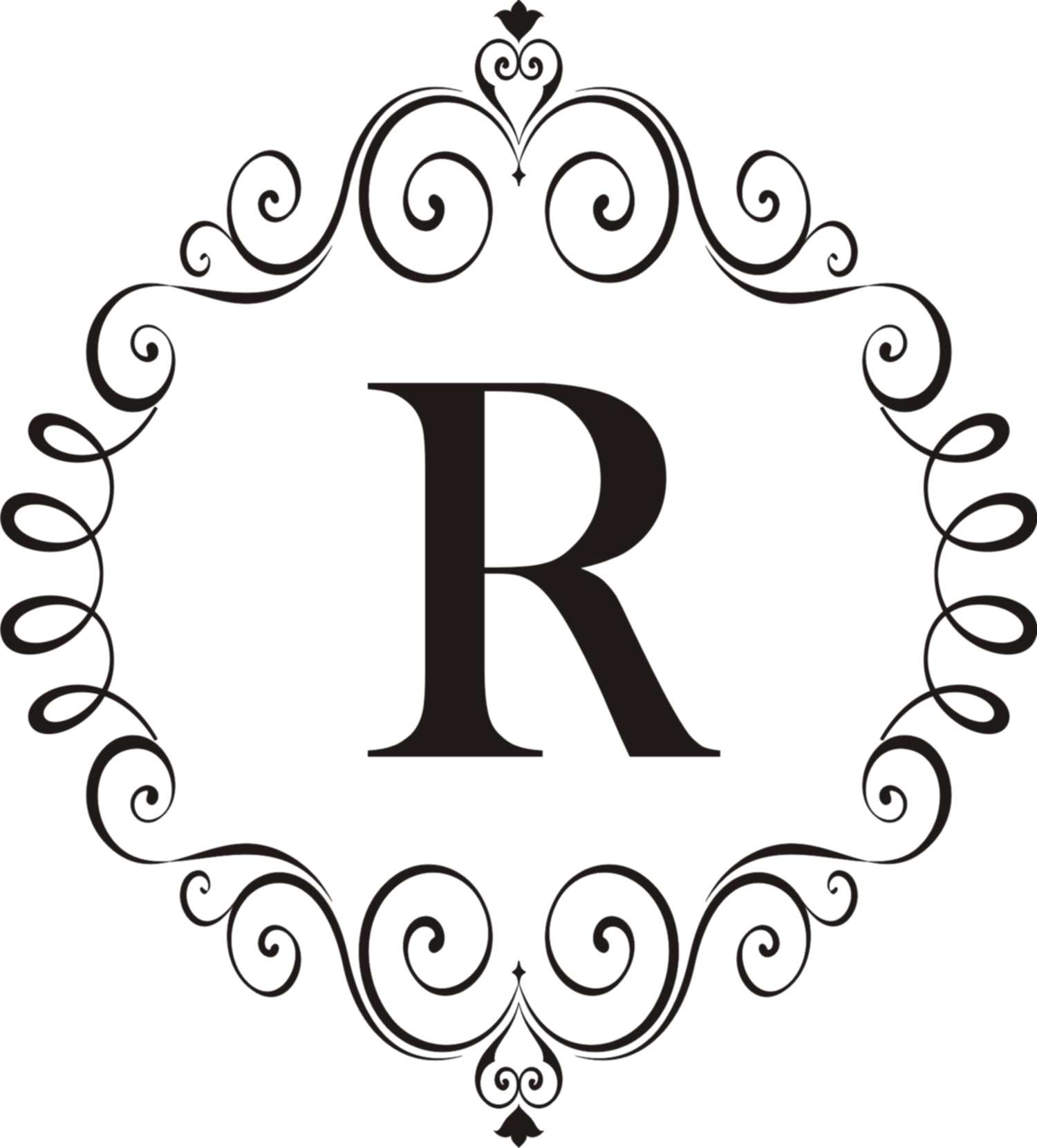 Ornate Scroll Vinyl Monogram with regard to Ornate Scroll Wall Decor (Image 12 of 30)