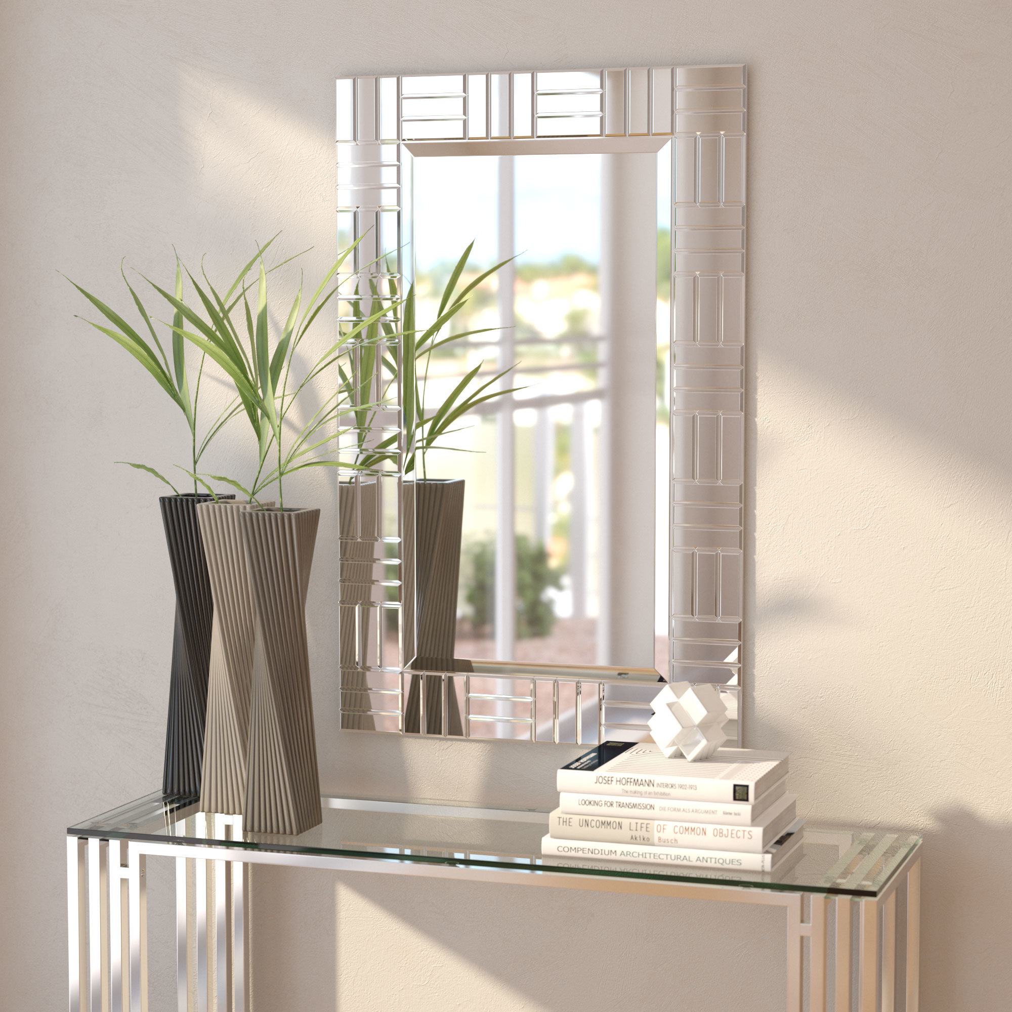 Orren Ellis Silver Frame Accent Mirror & Reviews | Wayfair.ca intended for Silver Frame Accent Mirrors (Image 22 of 30)