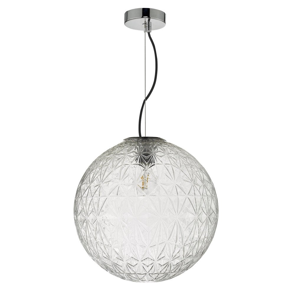 Ossian 1 Light Pendant Polished Chrome And Clear Glass Large Throughout 1 Light Geometric Globe Pendants (View 23 of 30)