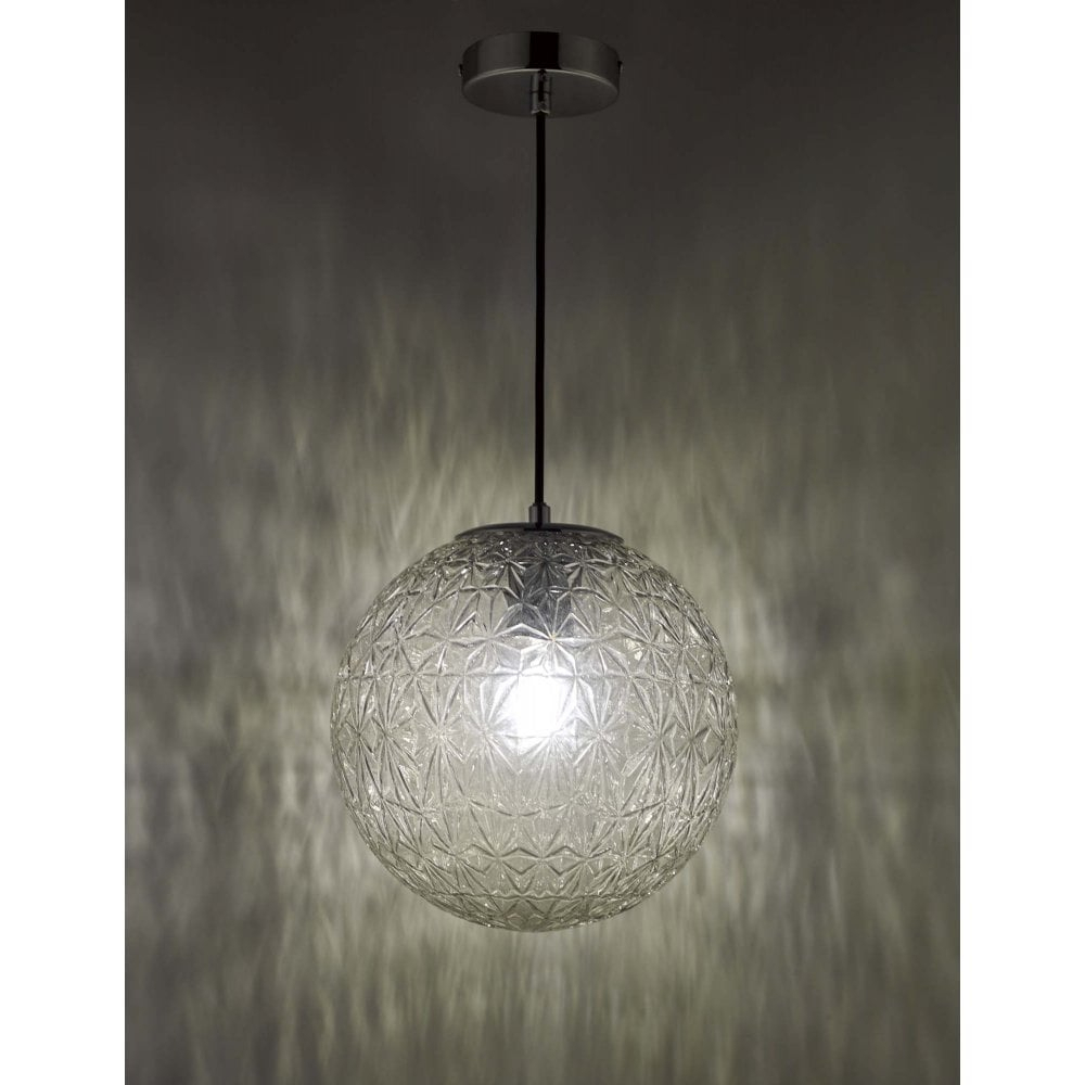 Ossian 1 Light Pendant Polished Chrome And Clear Glass Small Throughout 1 Light Geometric Globe Pendants (View 24 of 30)