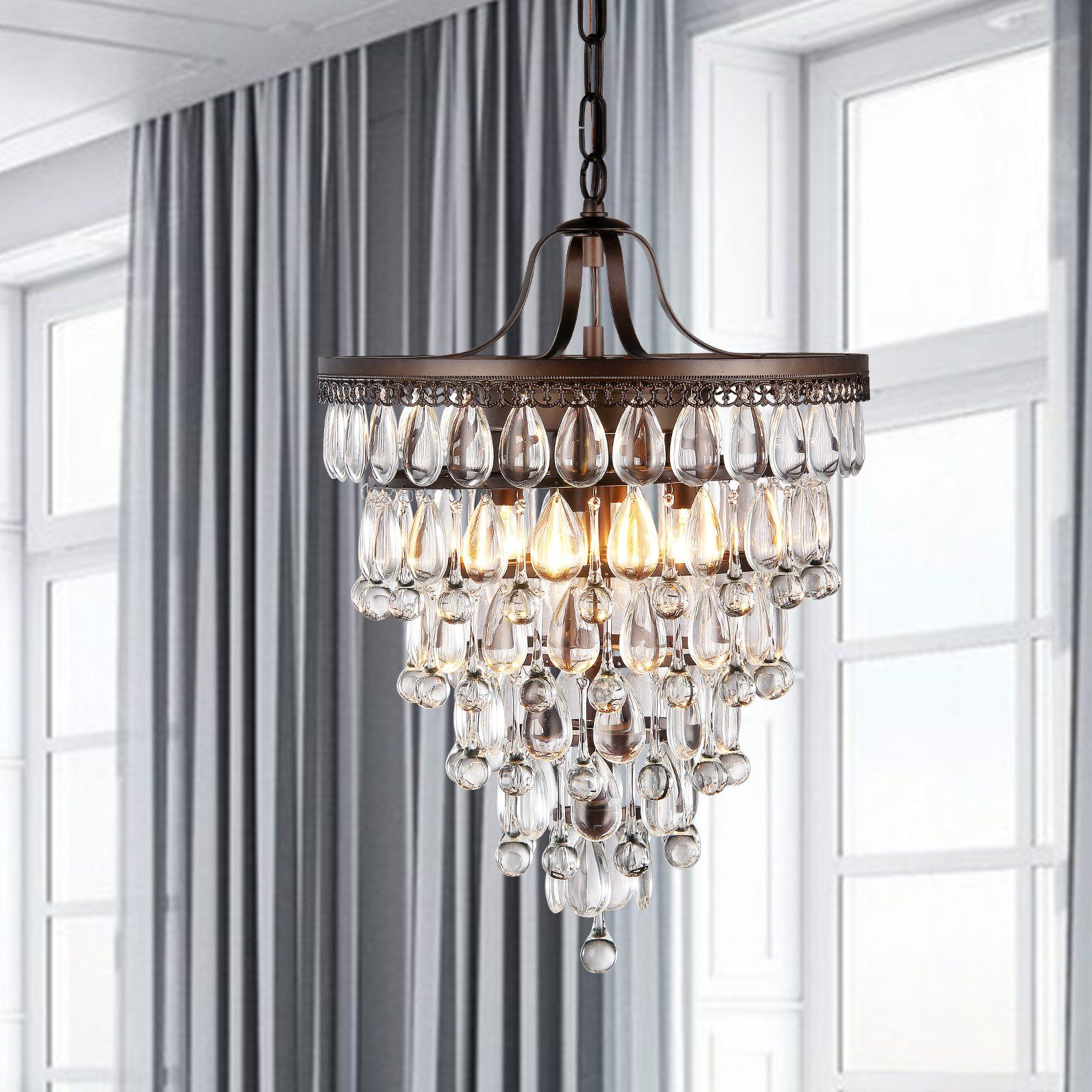 Outland 4 Light Crystal Chandelier | Lights | Chandelier Pertaining To Bramers 6 Light Novelty Chandeliers (View 15 of 30)