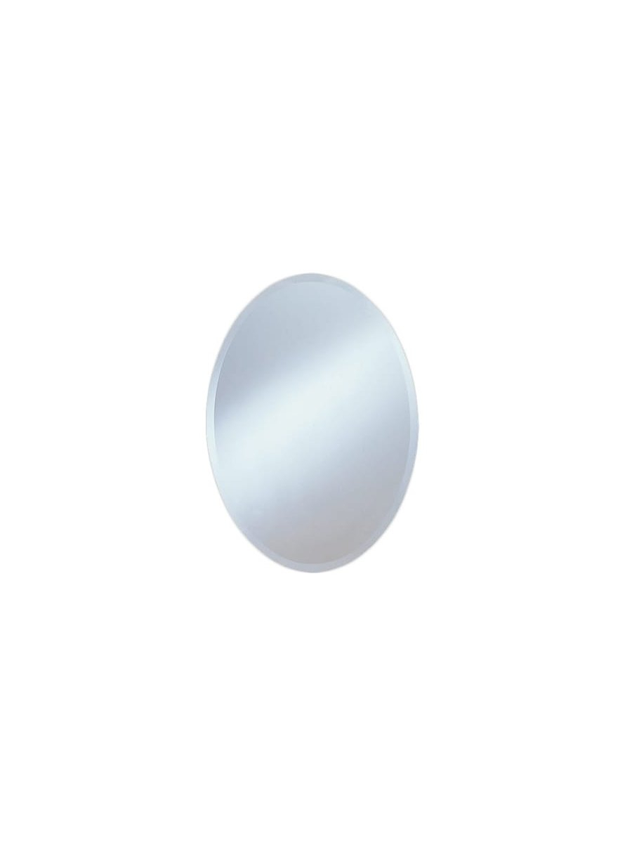 Oval Frameless Beveled Mirror in Kentwood Round Wall Mirrors (Image 17 of 30)
