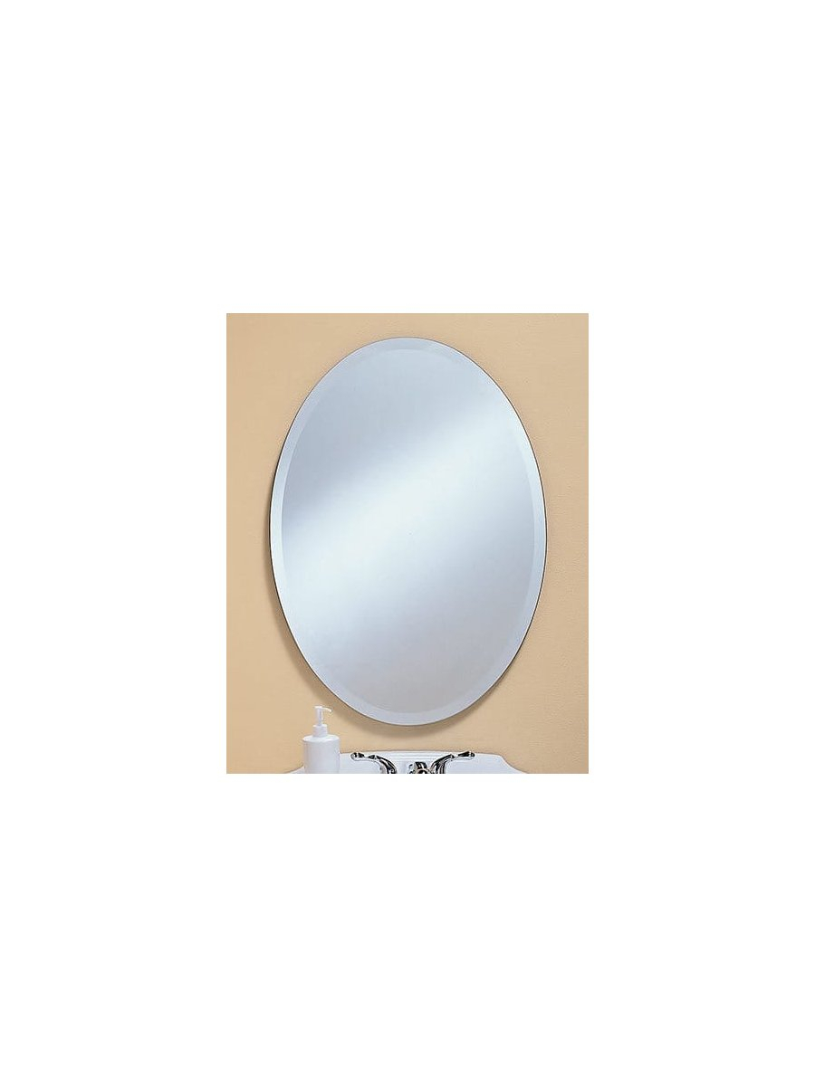 Oval Frameless Beveled Mirror inside Kentwood Round Wall Mirrors (Image 18 of 30)